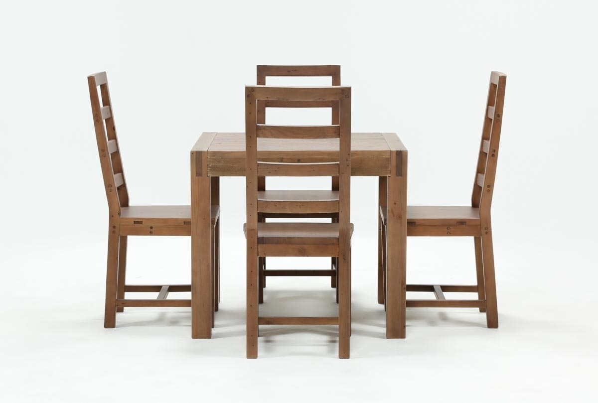 Crawford 5 Piece Square Dining Set | Living Spaces With Most Recently Released Combs 5 Piece Dining Sets With  Mindy Slipcovered Chairs (Image 9 of 20)