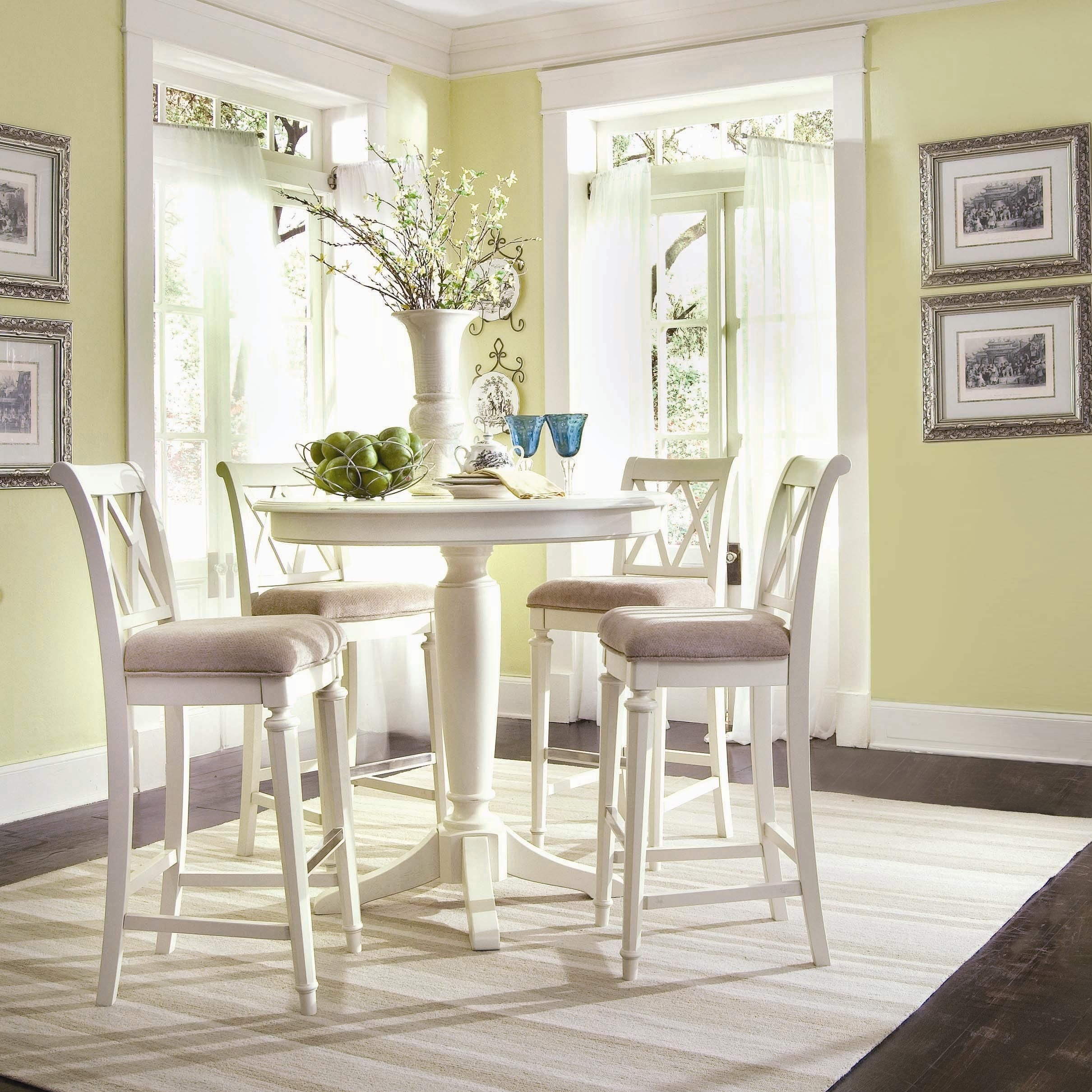 Create A Cottage Look With A Small Gathering Table! #cottage #life Within 2017 Palazzo 9 Piece Dining Sets With Pearson White Side Chairs (View 12 of 20)