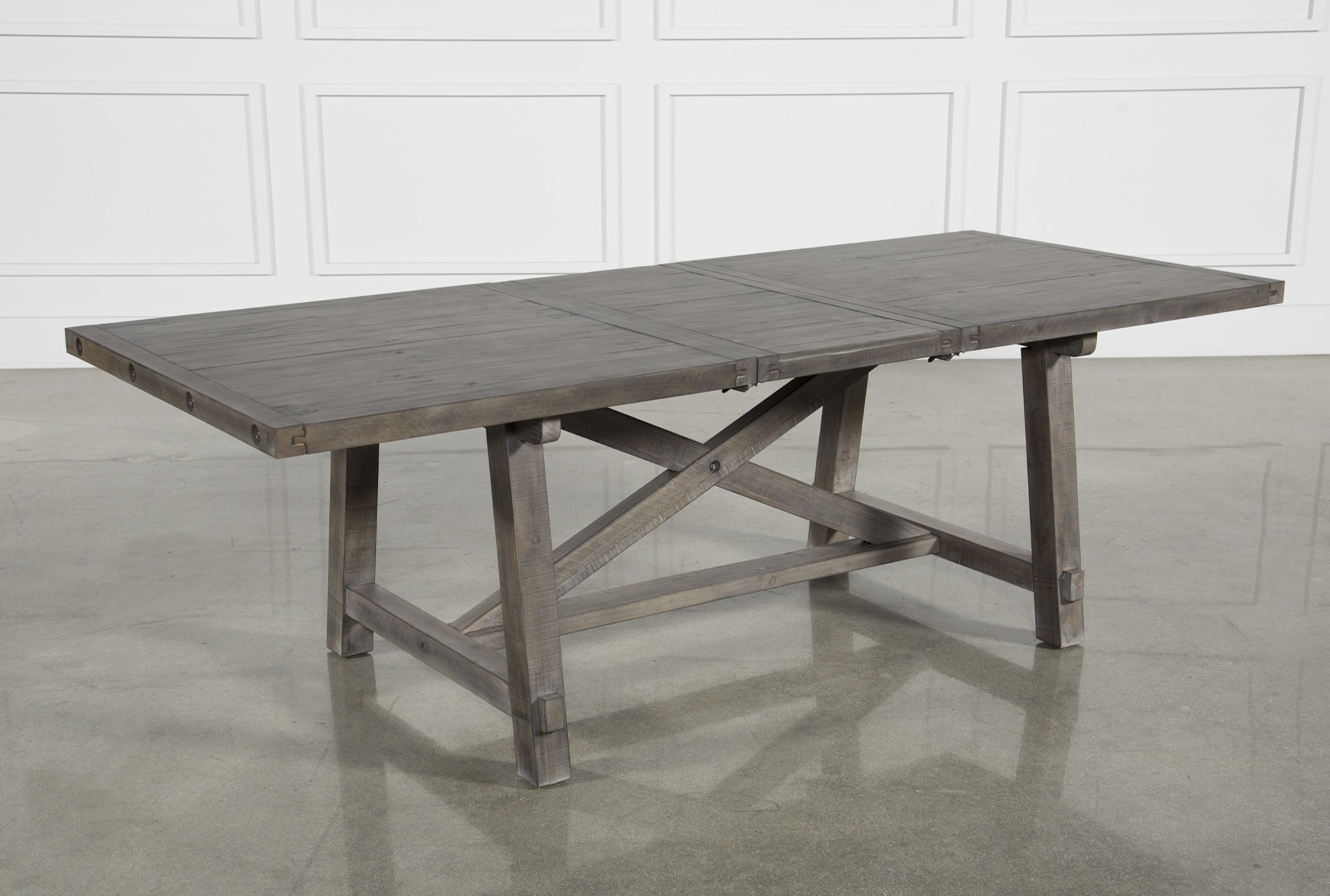 Cross Leg Dining Table In Newest Jaxon Grey Rectangle Extension Dining Tables (Image 4 of 20)
