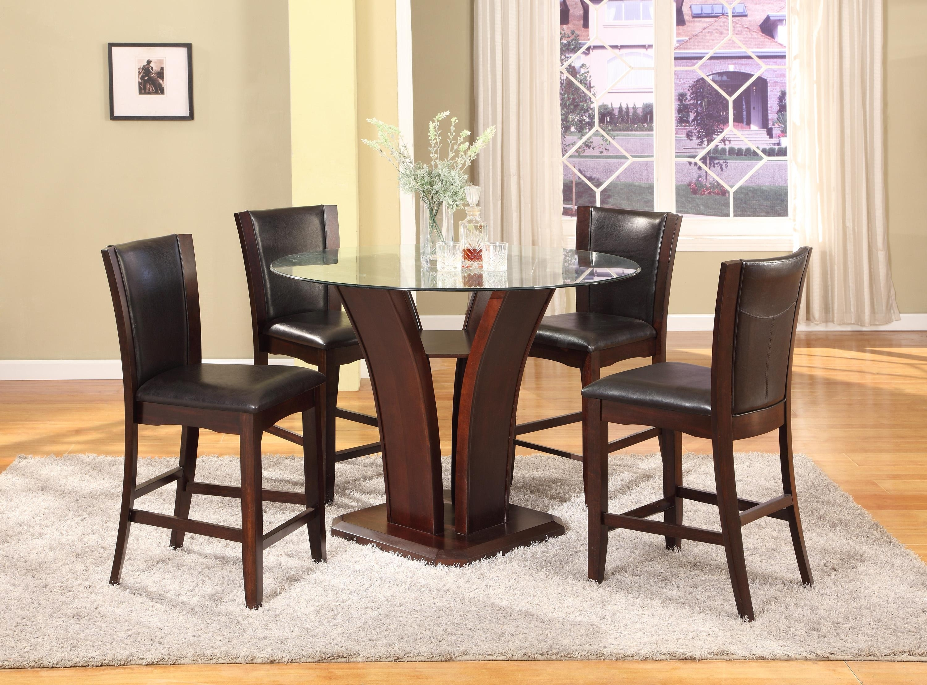 Crown Mark Camelia Espresso 5 Piece Counter Height Table And Stool Pertaining To Most Recently Released Hyland 5 Piece Counter Sets With Stools (Image 4 of 20)