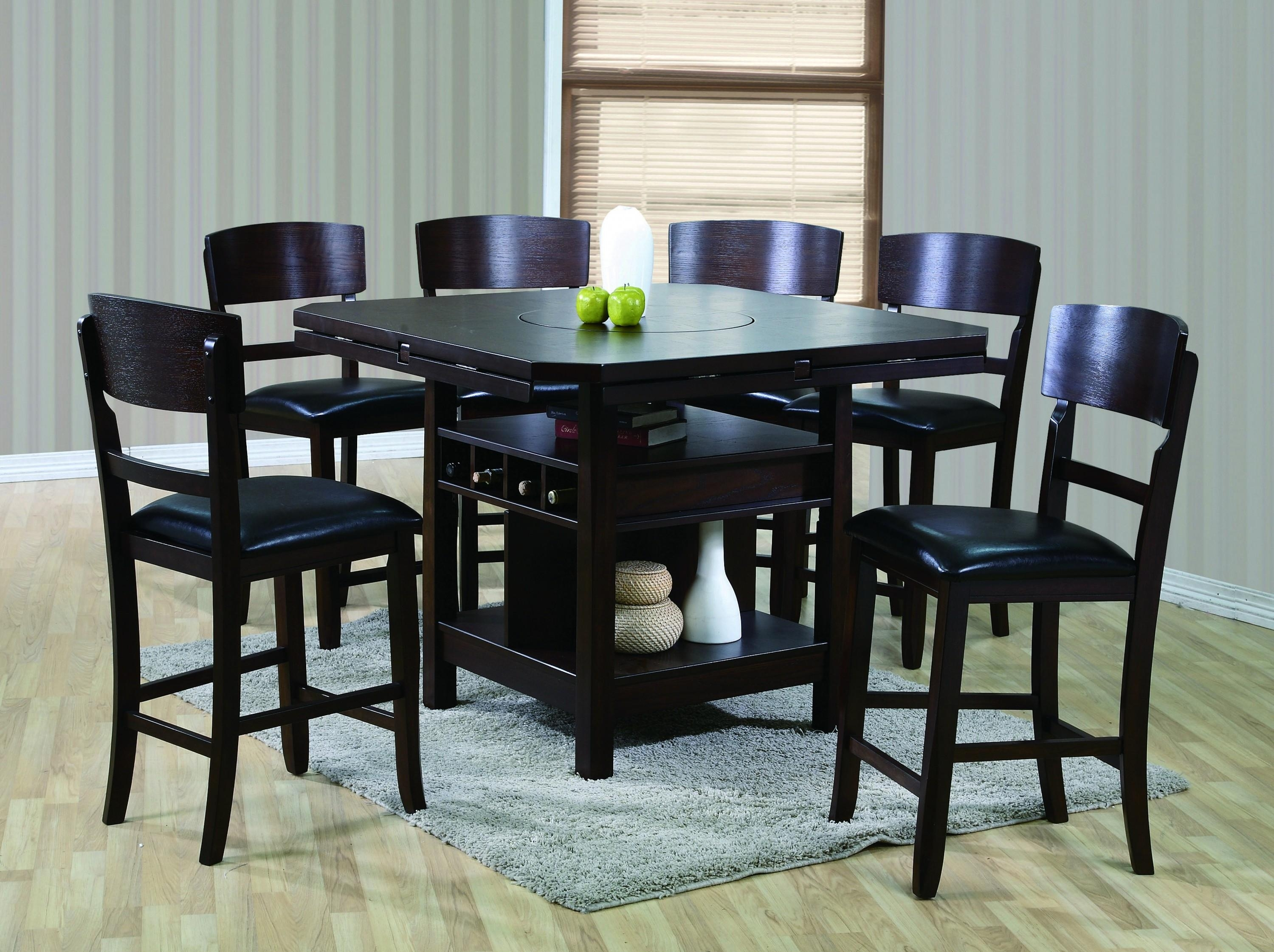 Crown Mark Conner Contemporary 7 Piece Table And Chair Set Throughout Most Recent Jaxon 5 Piece Extension Counter Sets With Wood Stools (Image 3 of 20)