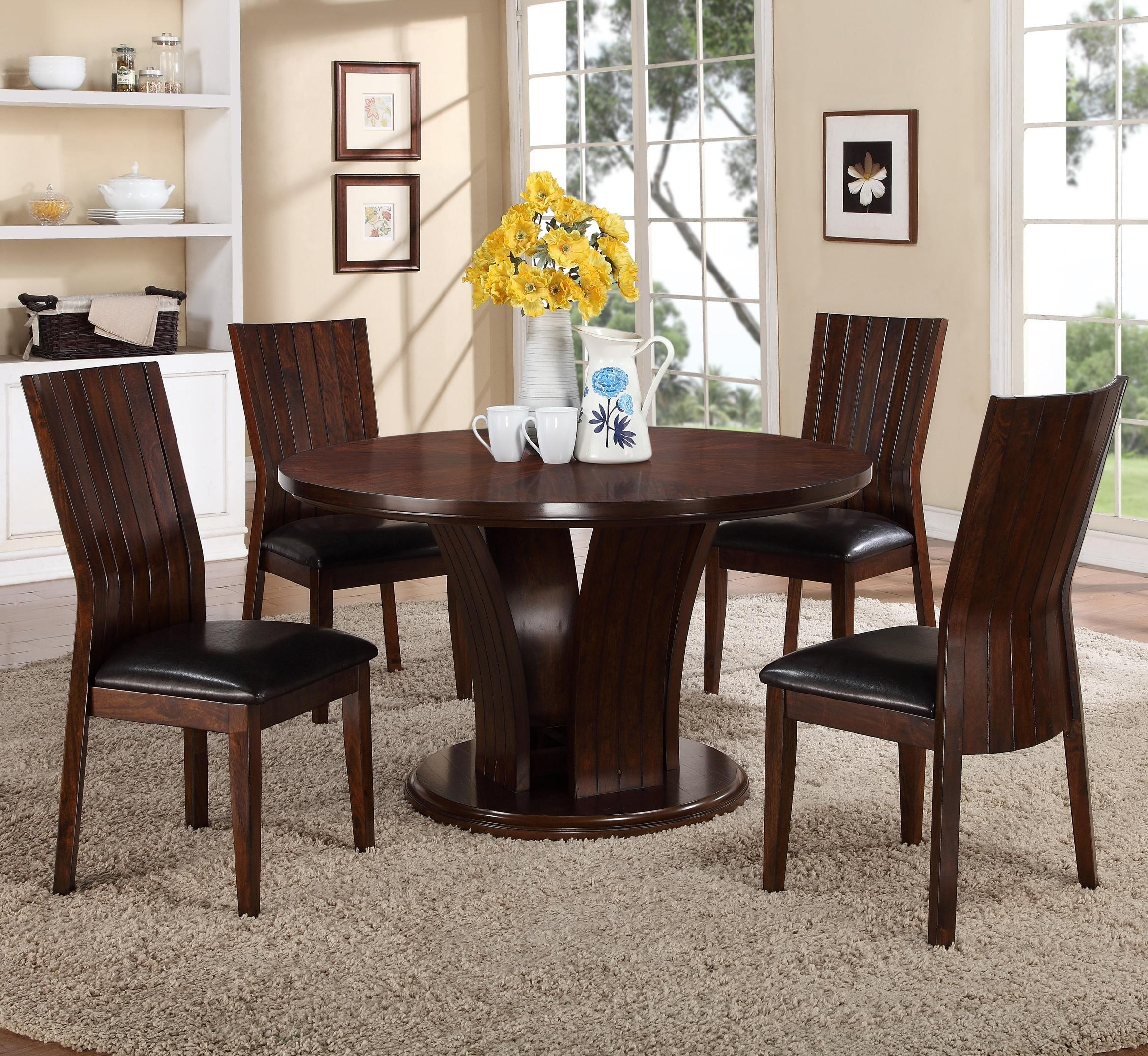 Crown Mark Daria 5 Piece Dining Set With Round Pedestal Table And Intended For Current Jaxon 5 Piece Round Dining Sets With Upholstered Chairs (Photo 7 of 20)