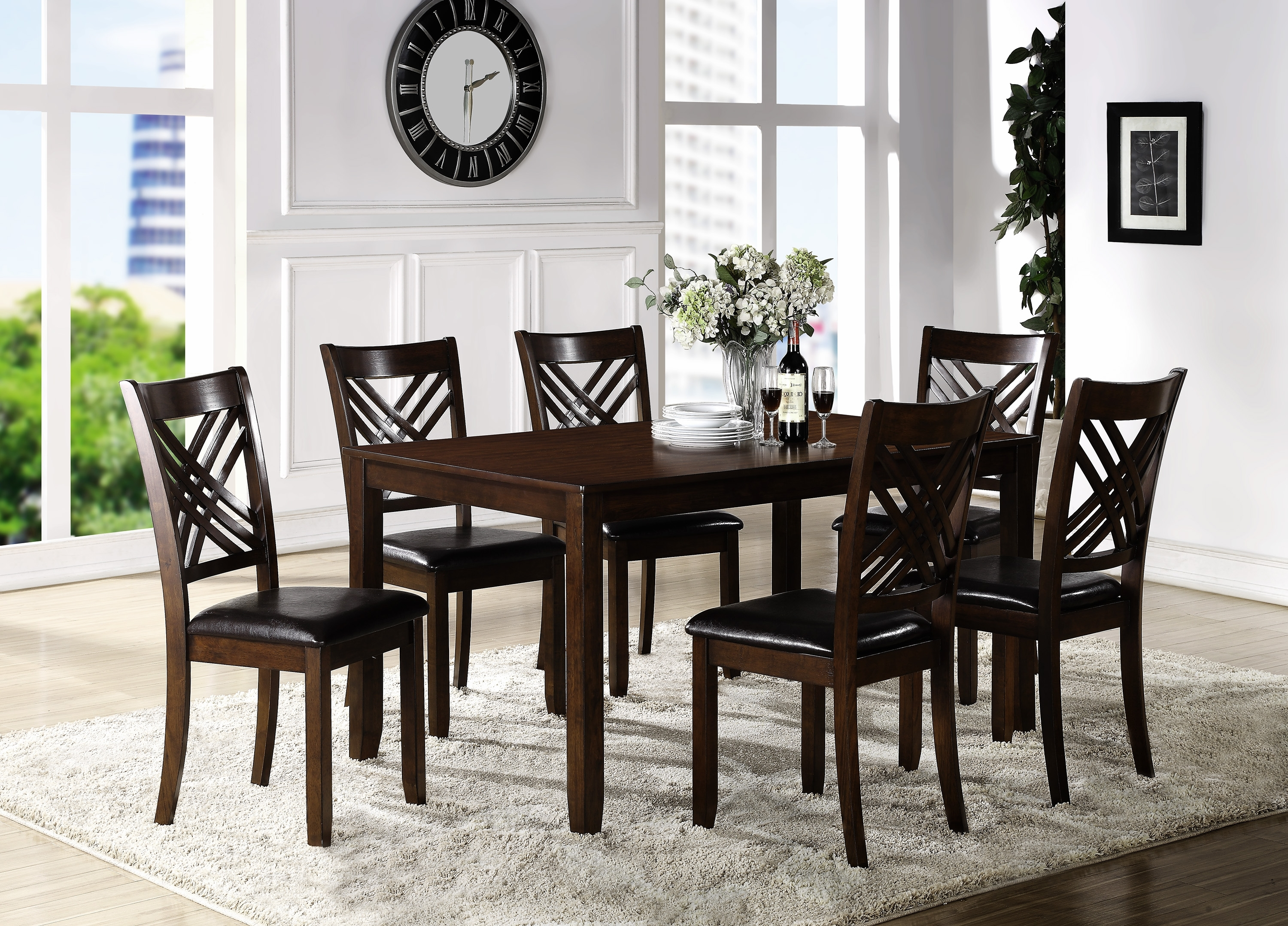 Crown Mark Eloise Dining Room Table With Six Crossback Side Chairs Pertaining To Best And Newest Lindy Espresso Rectangle Dining Tables (Image 1 of 20)
