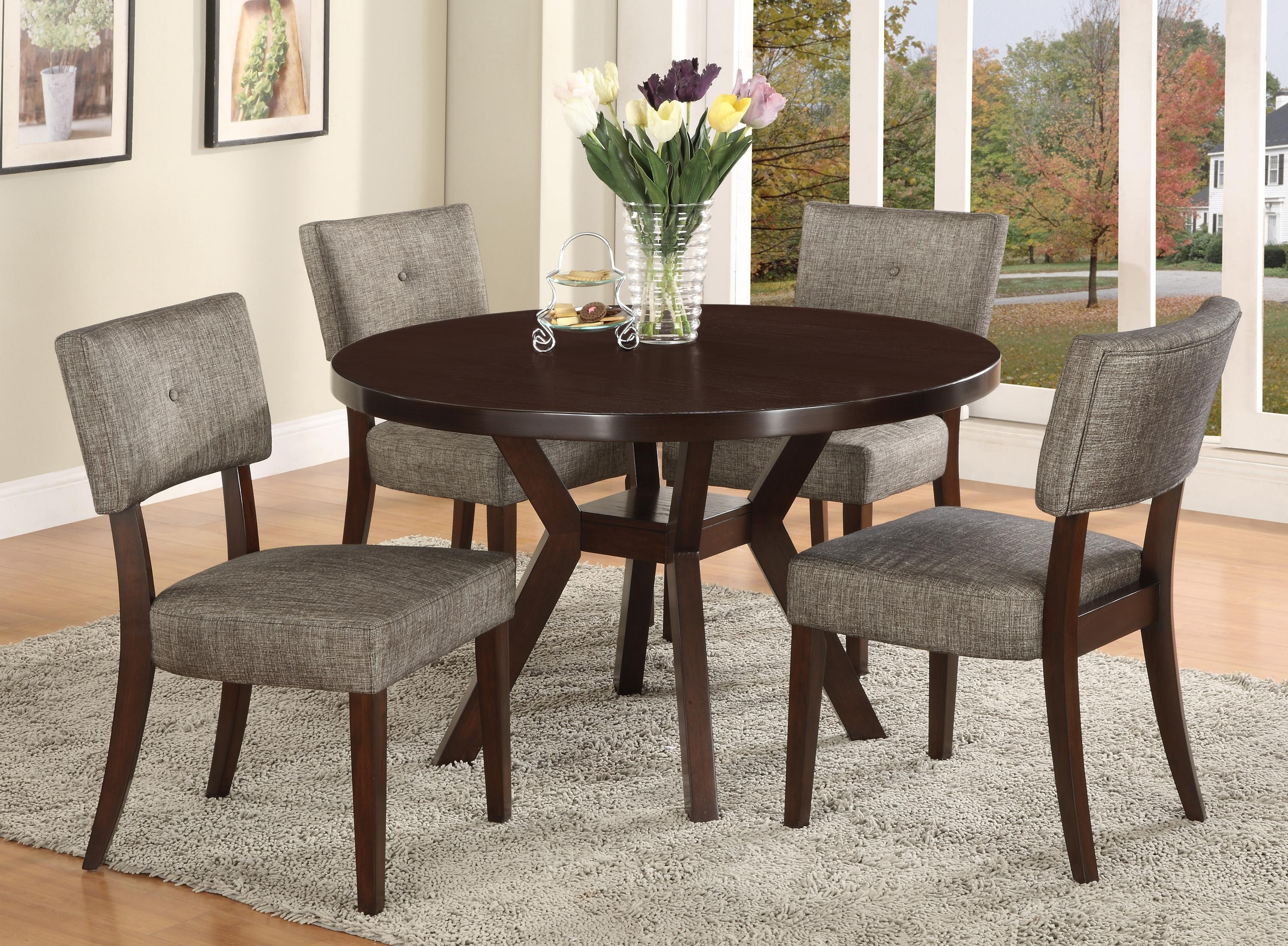 Crown Mark Kayla 5 Piece Dining Table And Chair Set | Dunk & Bright With Newest Macie Round Dining Tables (Photo 6 of 20)