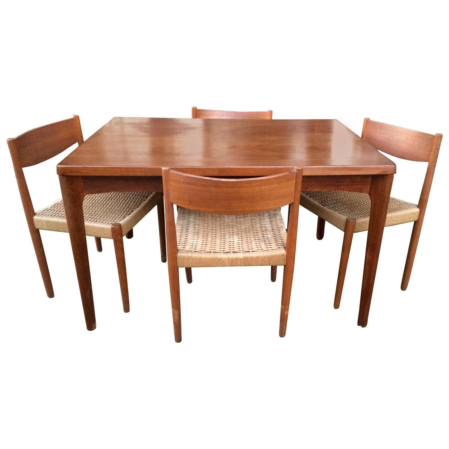 Danish Modern Extendable Teak Dining Table With Woven Chairs With Regard To Latest Helms 5 Piece Round Dining Sets With Side Chairs (View 15 of 20)