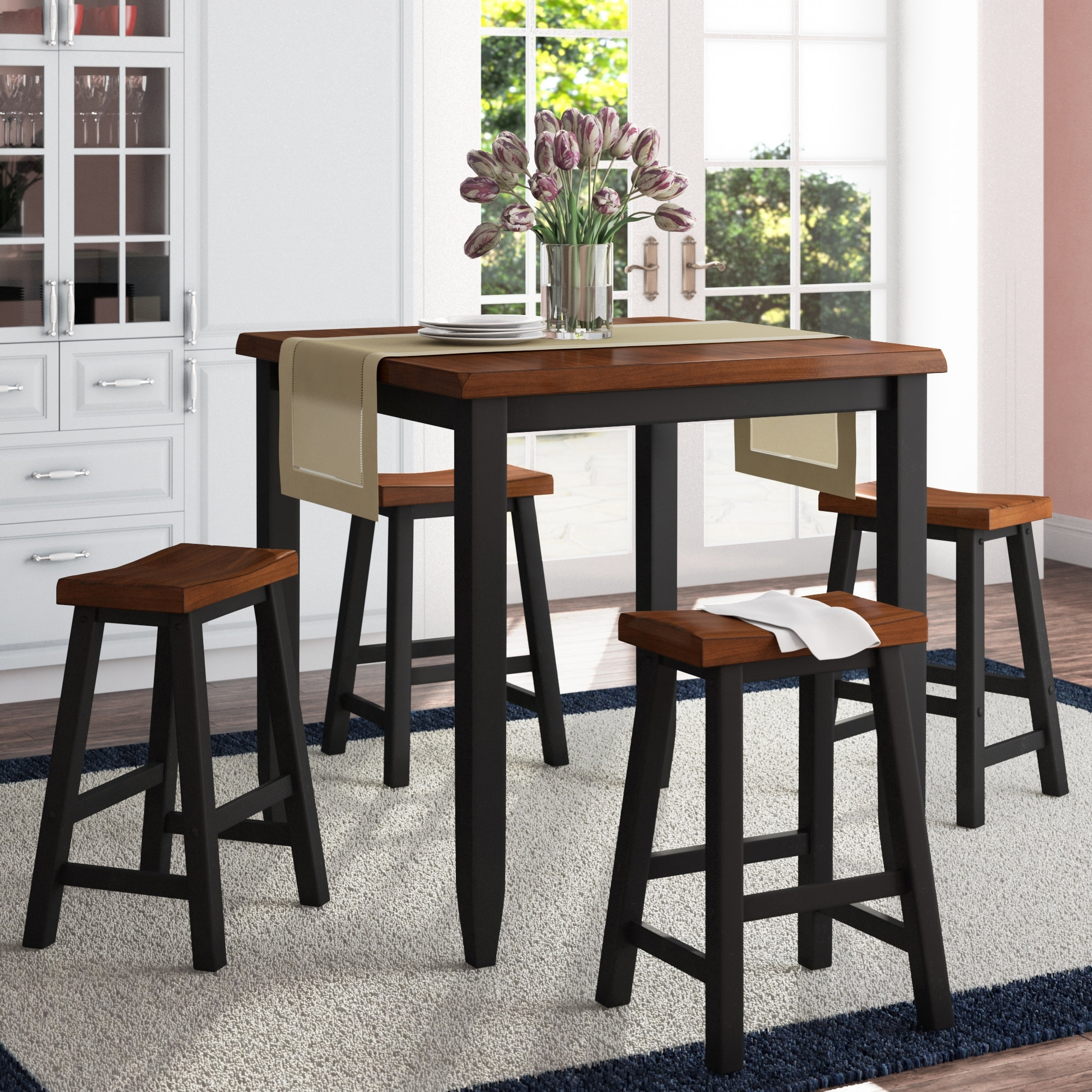 Darby Home Co Simmons Casegoods Ruggerio 5 Piece Counter Height Pub With Regard To 2018 Jaxon 5 Piece Round Dining Sets With Upholstered Chairs (Image 4 of 20)