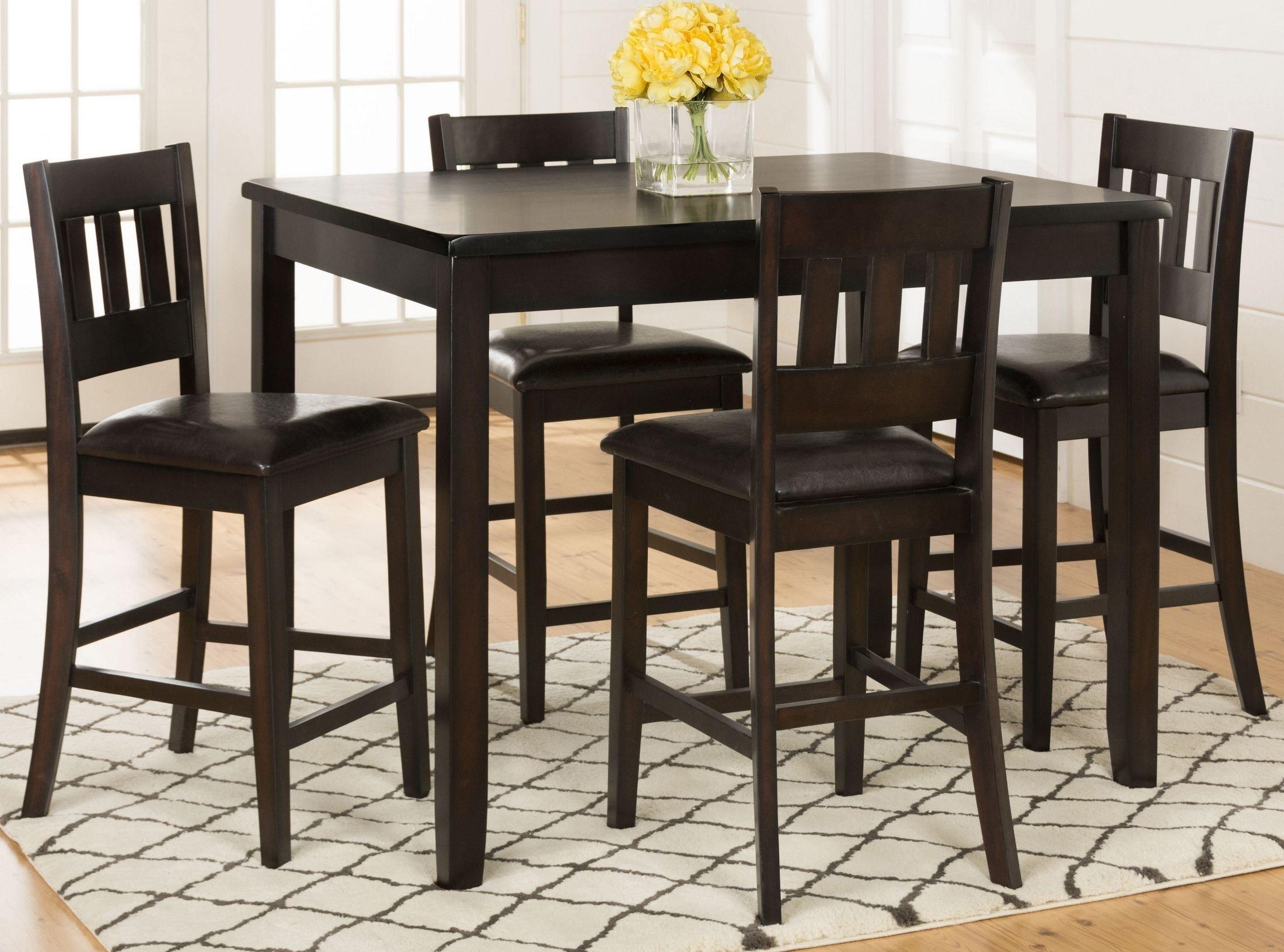 Dark Rustic Prairie Dark Brown 5 Piece Counter Height Dining Room Regarding Most Recent Harper 5 Piece Counter Sets (Image 6 of 20)