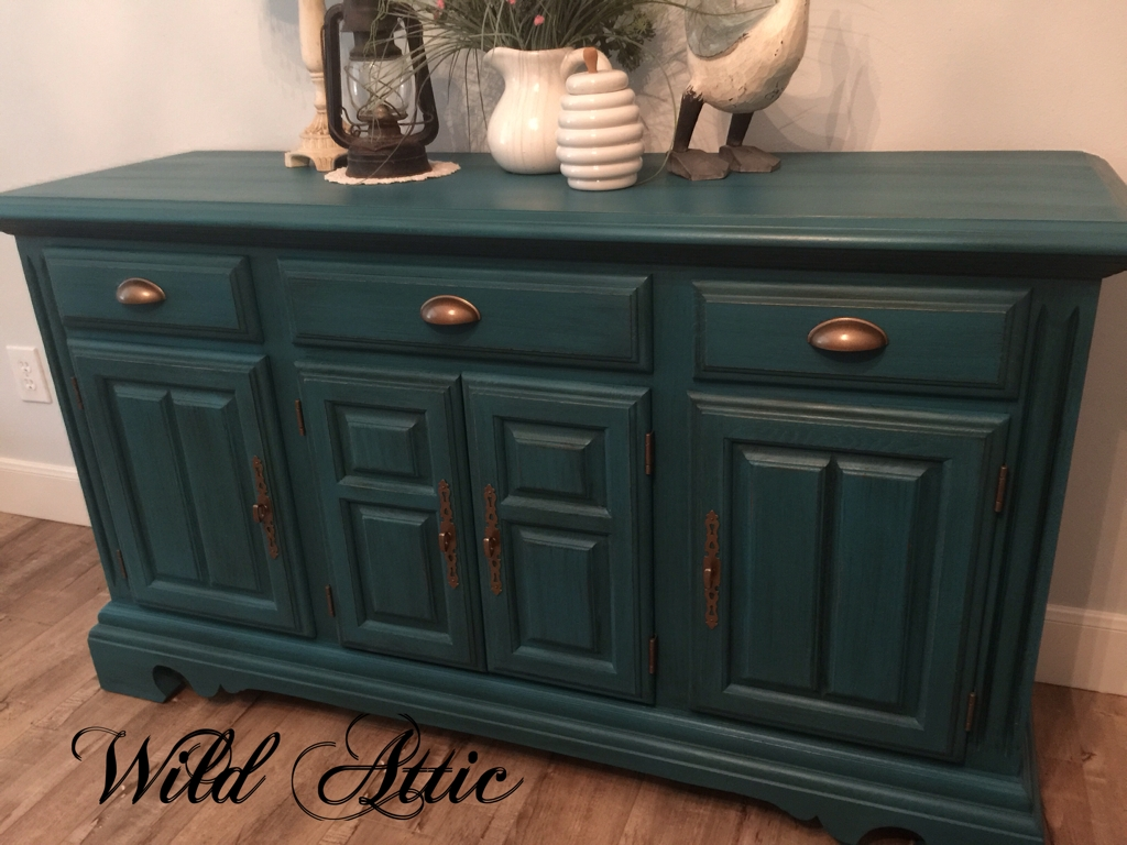 Dark Teal Solid Oak Buffet / Sideboard Madecochrane Furniture Inside 2018 Wyatt 6 Piece Dining Sets With Celler Teal Chairs (Image 7 of 20)