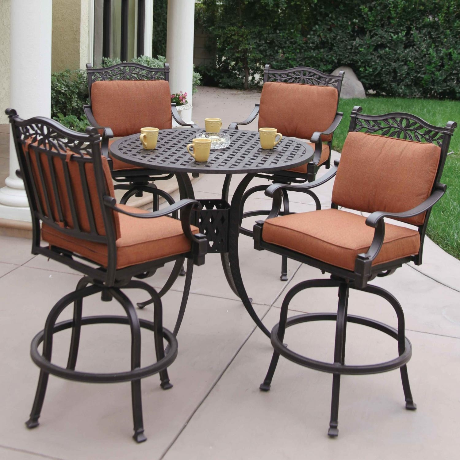 Darlee Charleston 5 Piece Cast Aluminum Patio Bar Set With Swivel In Latest Market 5 Piece Counter Sets (Image 11 of 20)