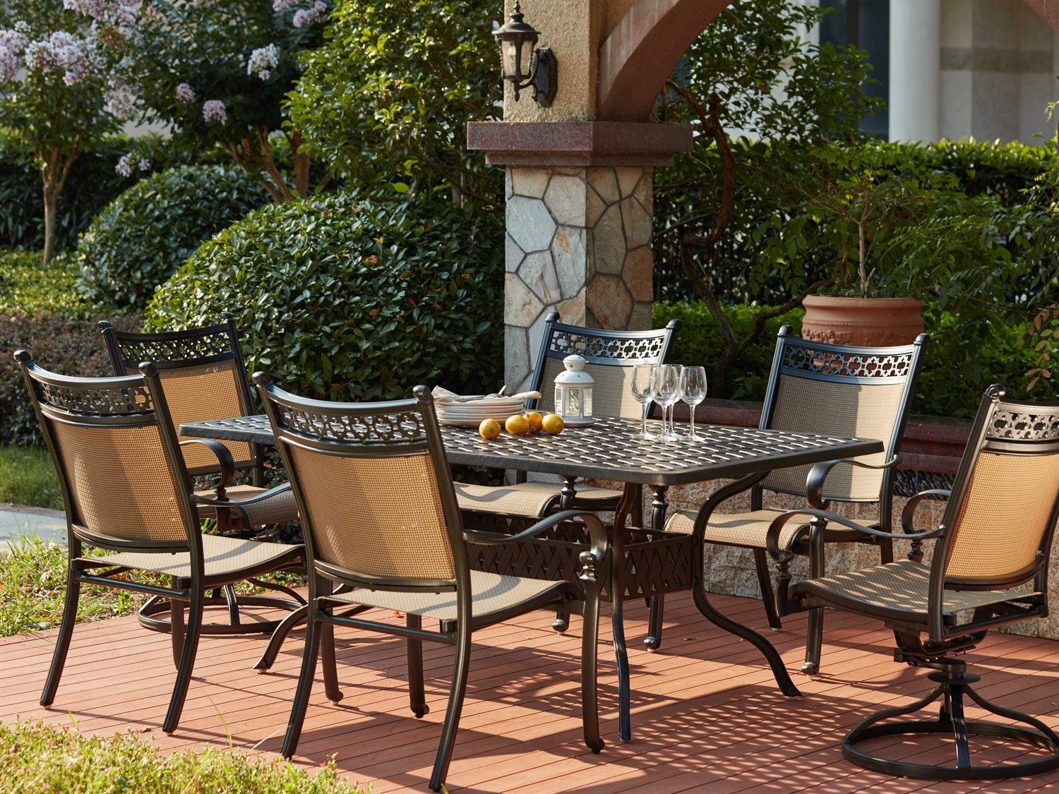 Darlee Outdoor Living Standard Mountain View Cast Aluminum 7  Piece Intended For Most Recent Valencia 72 Inch 7 Piece Dining Sets (Photo 16 of 20)