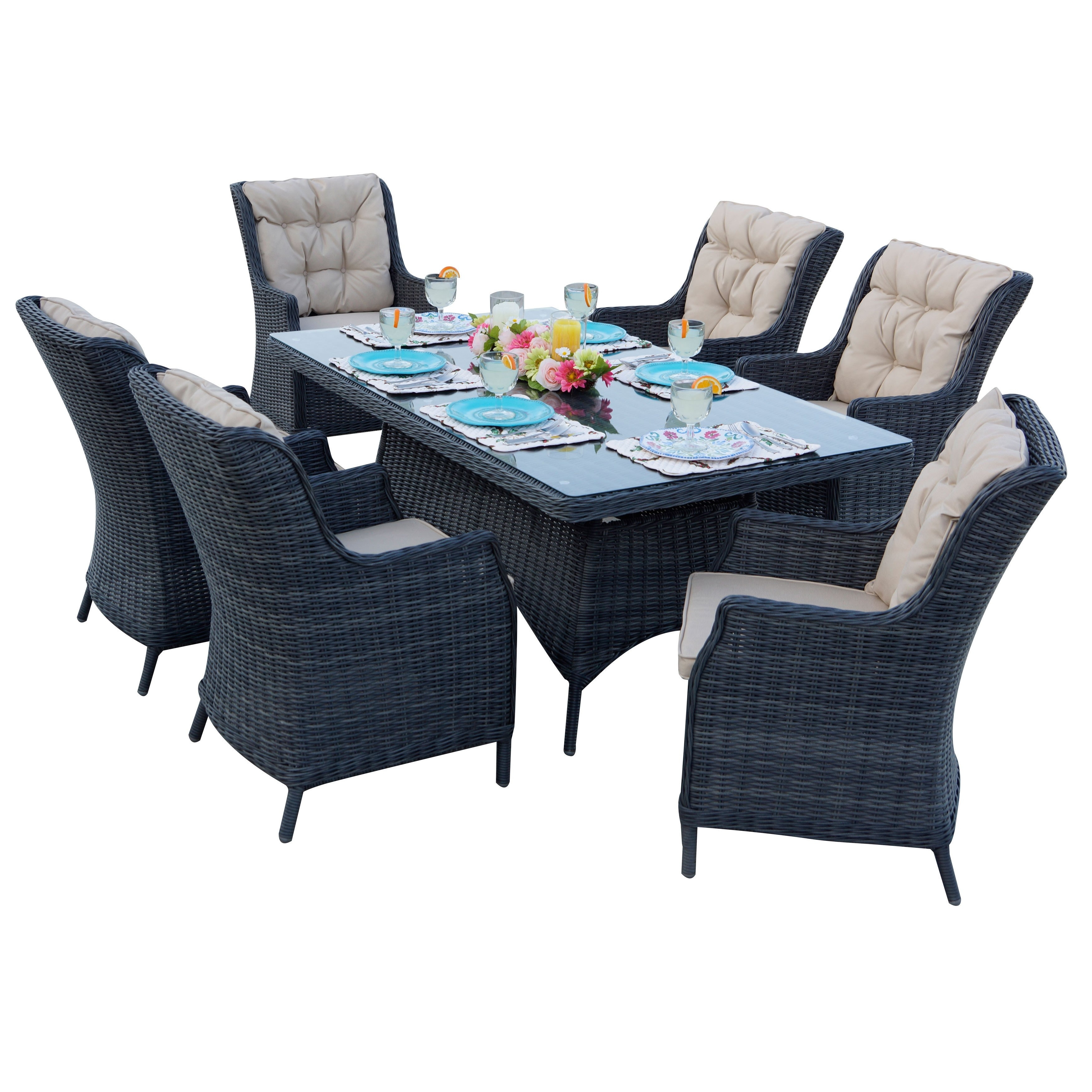 Darlee Valencia Black Resin Wicker Dining Set | Ebay Intended For 2018 Valencia 72 Inch 7 Piece Dining Sets (View 5 of 20)