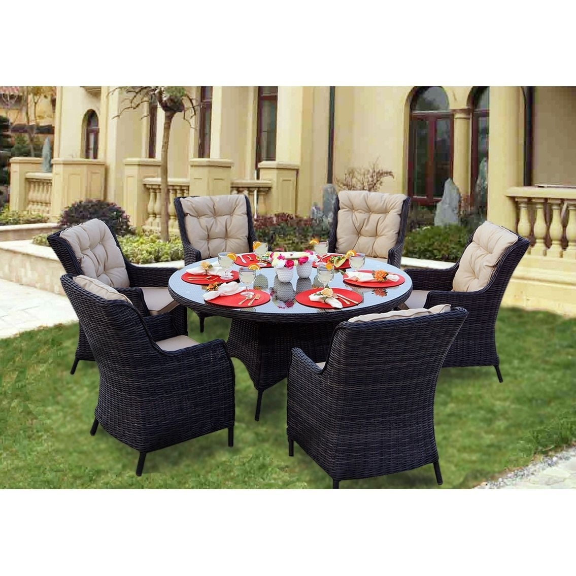 Darlee Valencia Charcoal (Grey) Wicker 7 Piece Dining Set With For Most Current Valencia 60 Inch Round Dining Tables (Photo 14 of 20)