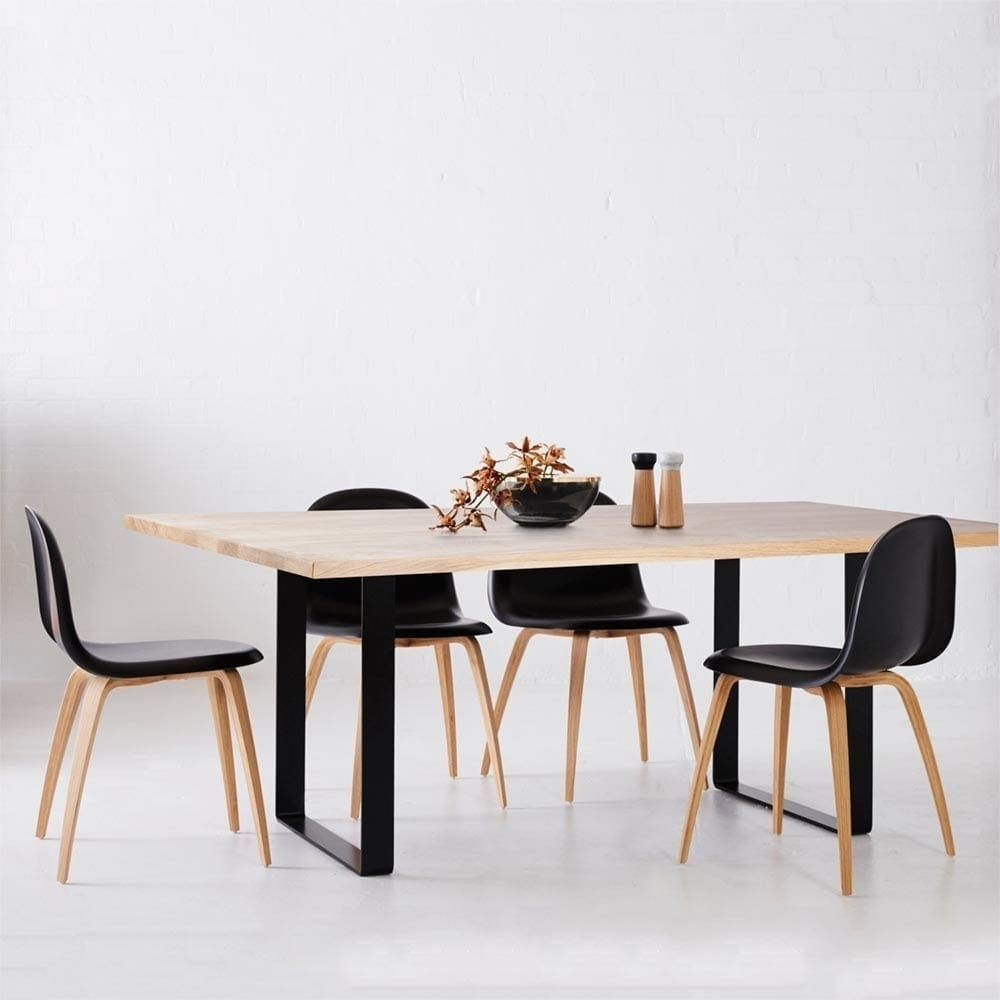 Designer Industrial Pyrmont Wooden Dining Table Black Steel Legs Throughout Most Up To Date Lassen Round Dining Tables (View 12 of 20)