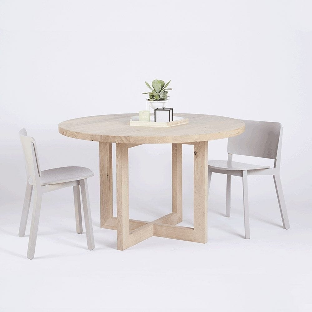 Designer Round Solid Oak Timber Dining Table – Contemporary Furniture Inside Most Current Lassen Round Dining Tables (View 3 of 20)