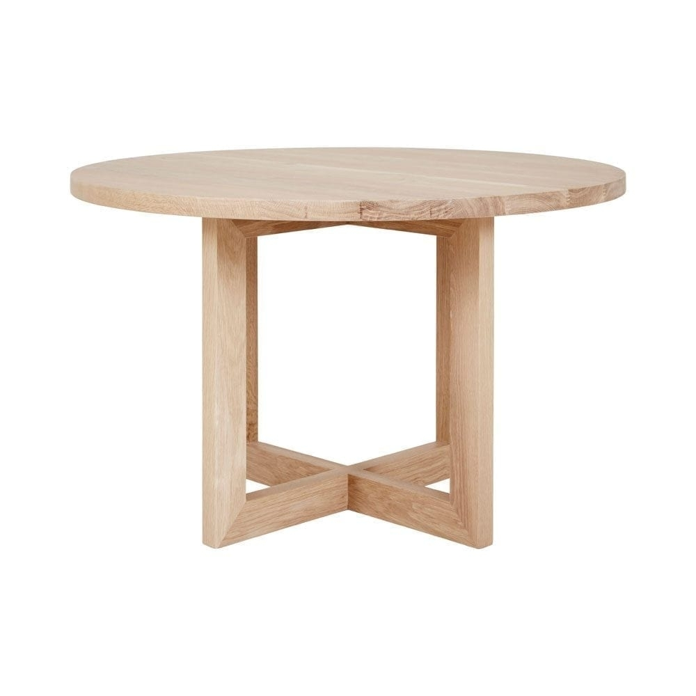 Designer Round Solid Oak Timber Dining Table – Contemporary Furniture With Regard To Most Recently Released Lassen Round Dining Tables (View 16 of 20)