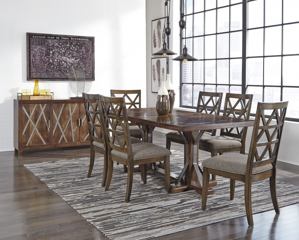 Devasheen – Rectangular Dining Room Table & 6 Uph Side Chairs | D687 With Most Popular Market 6 Piece Dining Sets With Side Chairs (Photo 3 of 20)