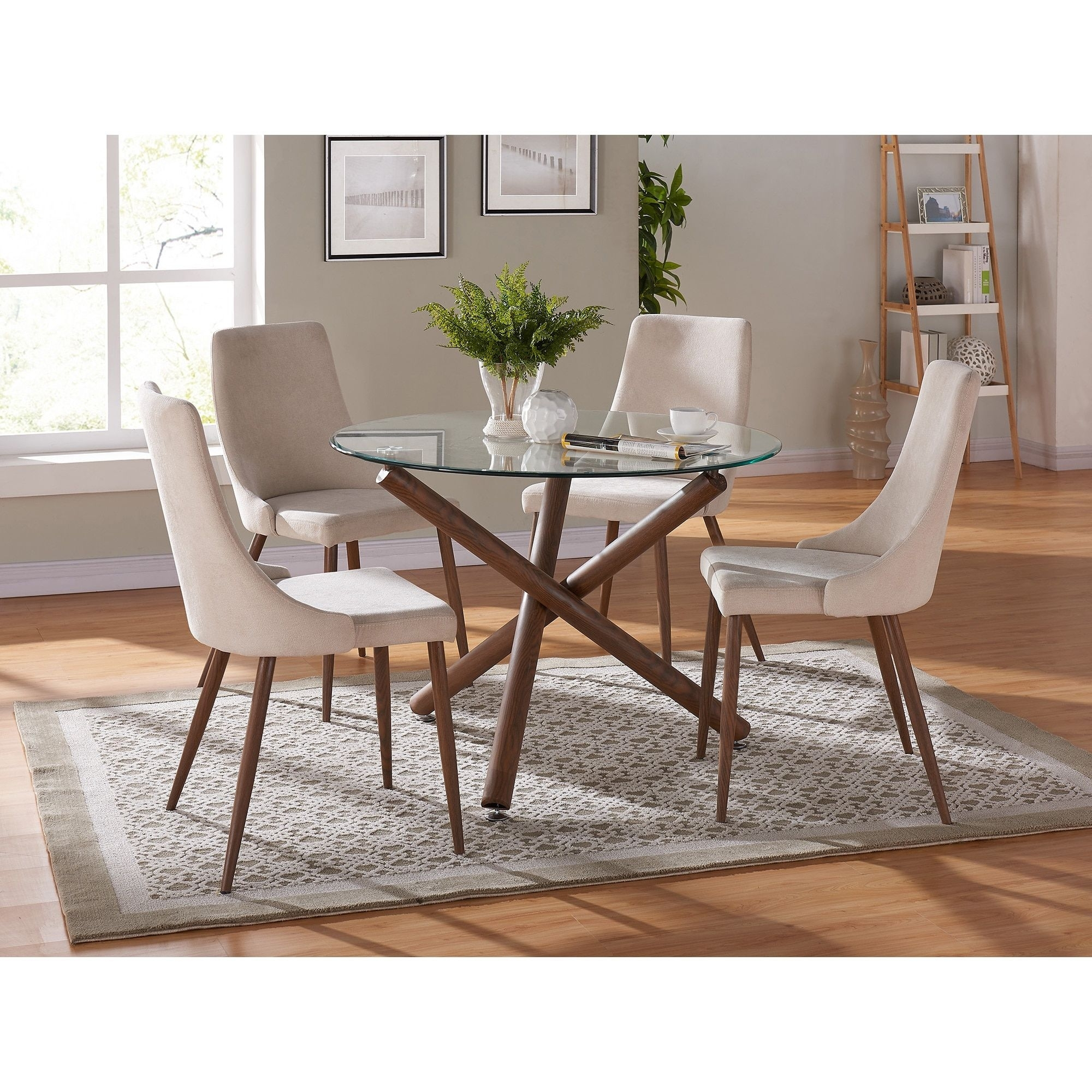Dining Chairs, Fabric Dining Room Chairs: Make Mealtimes More For Latest Cora 5 Piece Dining Sets (Image 13 of 20)
