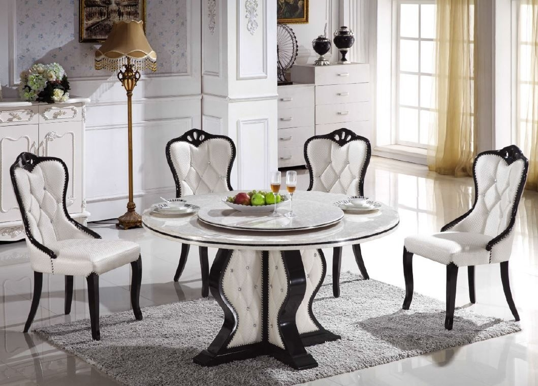 Dining Room Classic Round Marble Dining Table For 4 Dining Chairs In Most Popular Helms 7 Piece Rectangle Dining Sets With Side Chairs (Image 2 of 20)