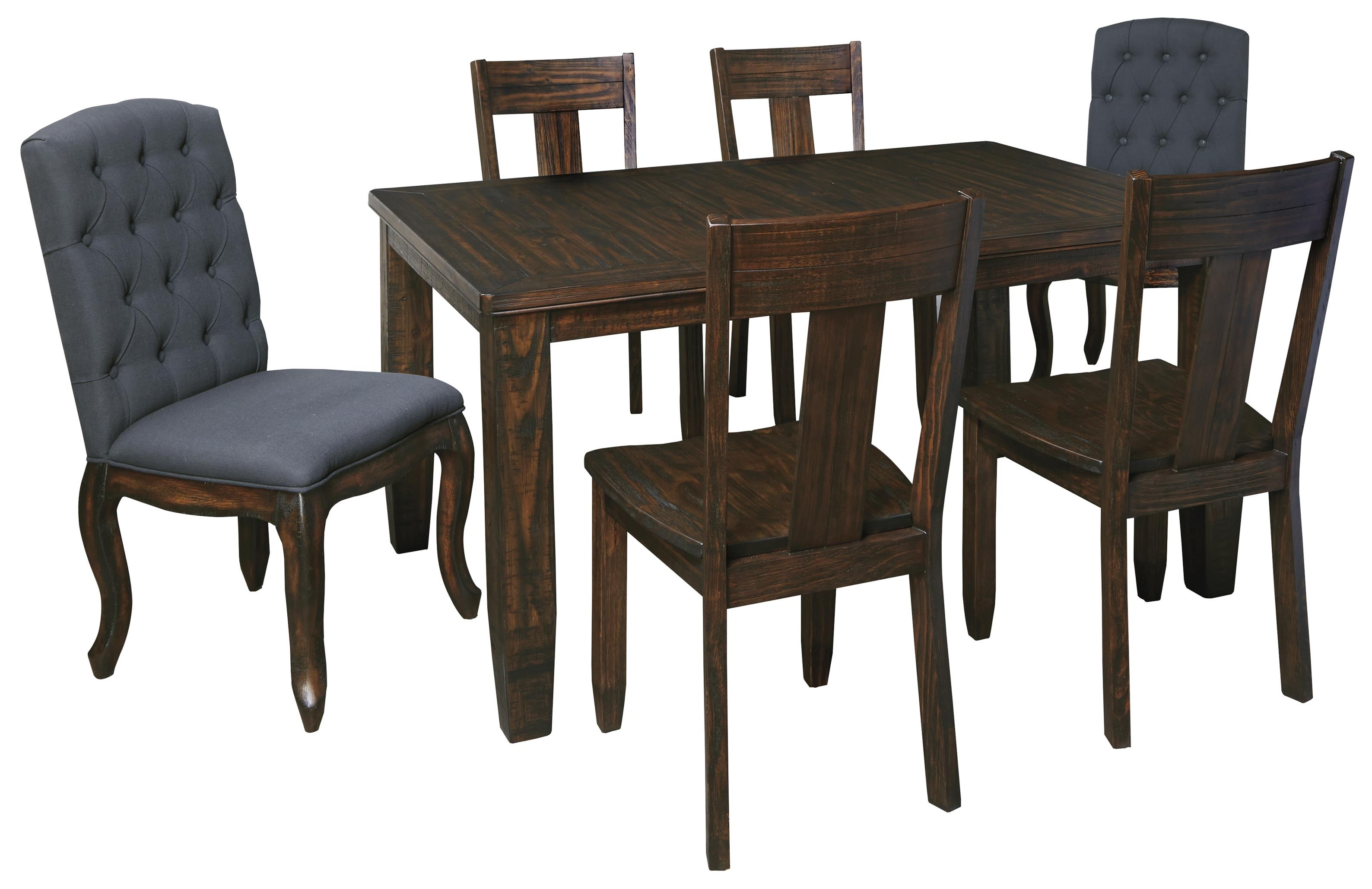 Dining Room Upholstered Dining Room Chair With Gray Black Dining In Most Recent Jaxon 7 Piece Rectangle Dining Sets With Wood Chairs (Image 2 of 20)
