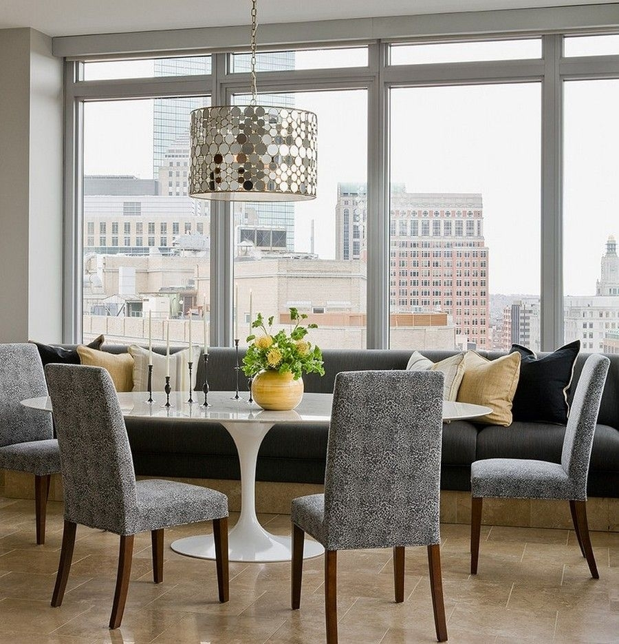 Dining Room: White Saarinen Oval Tulip Dining Table And Grey Banquet Within Most Recent Bale Rustic Grey 6 Piece Dining Sets With Pearson Grey Side Chairs (Image 12 of 20)
