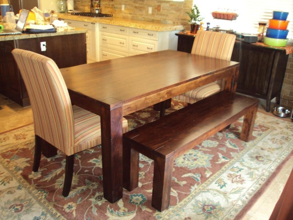 Dining Table Bench Seat With Back | Design Ideas 2017 2018 With Current Natural Wood & Recycled Elm 87 Inch Dining Tables (View 11 of 20)