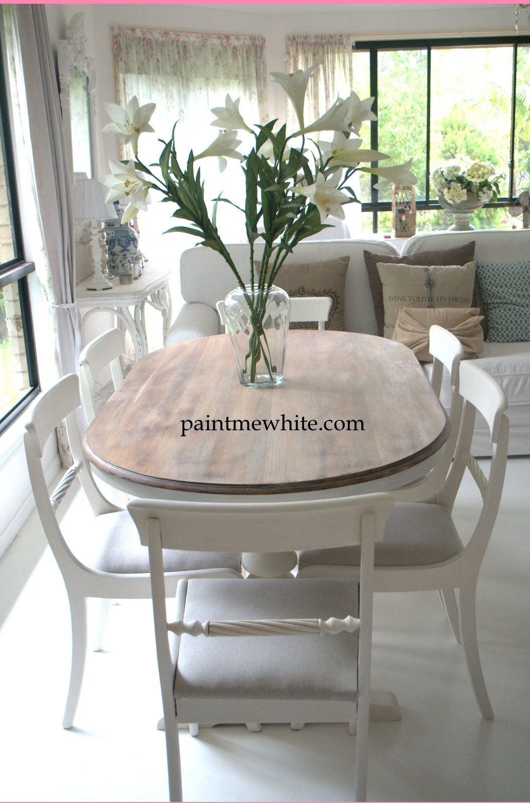 Dining Table Makeover – Whitewash Table Top And White Chalk Paint With Regard To Most Recent Kirsten 6 Piece Dining Sets (Photo 20 of 20)