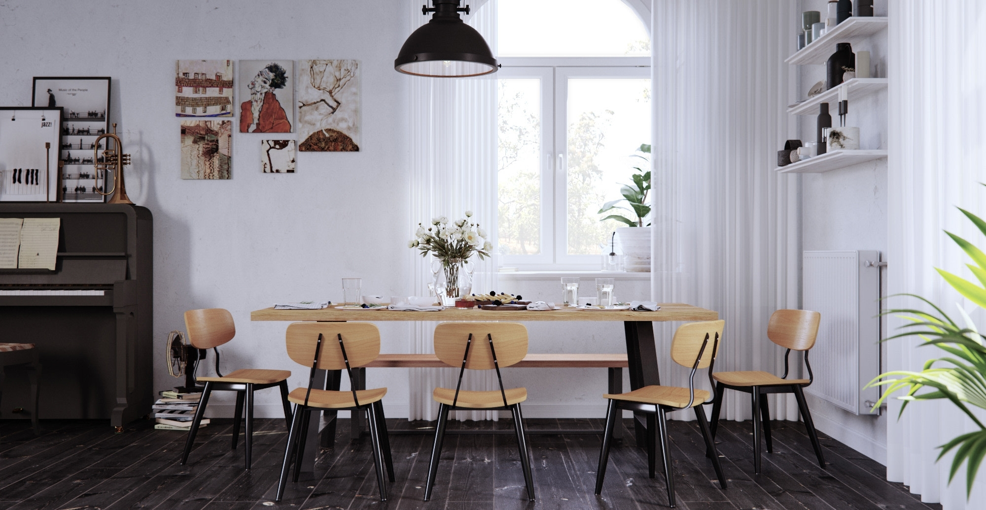 Dining Table Styles For Small Spaces | Brosa Intended For Most Current Helms 6 Piece Rectangle Dining Sets (Image 5 of 20)