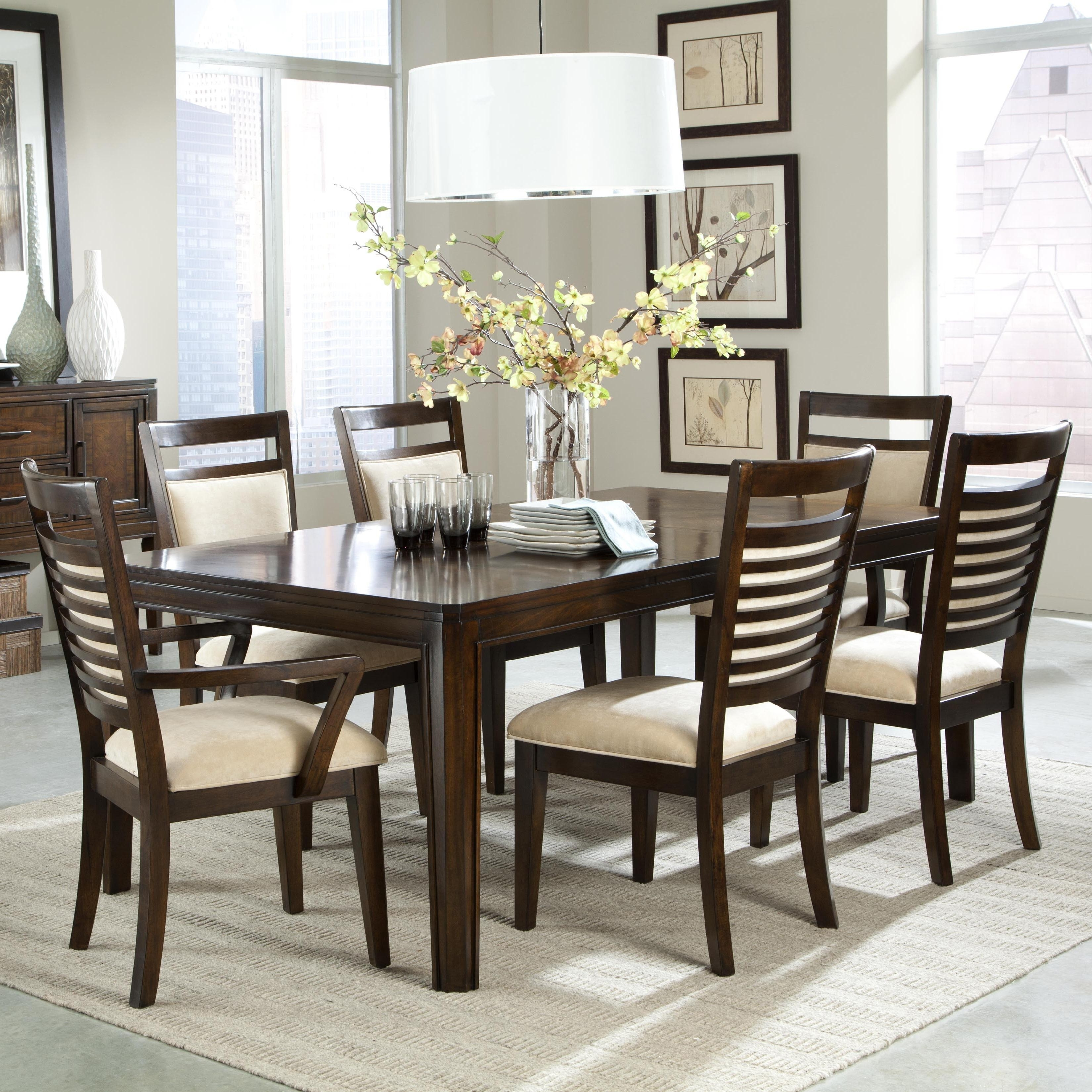 Dining Table Upholstered Chairs Unique The Pemberleigh Round Table With Most Recent Jaxon Grey 6 Piece Rectangle Extension Dining Sets With Bench & Uph Chairs (Image 4 of 20)