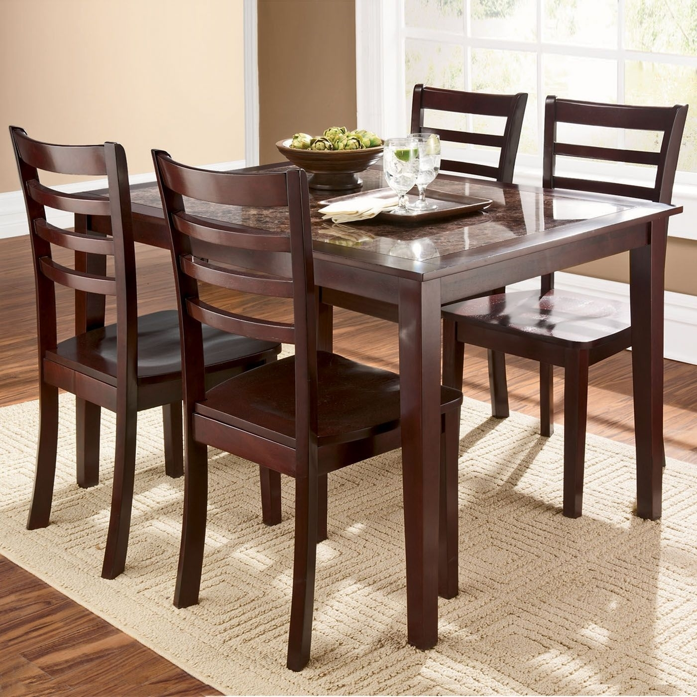 Dining Tables & Chairs | Cascade Faux Marble 5 Piece Dining Set With Regard To Current Caden 5 Piece Round Dining Sets With Upholstered Side Chairs (View 16 of 20)