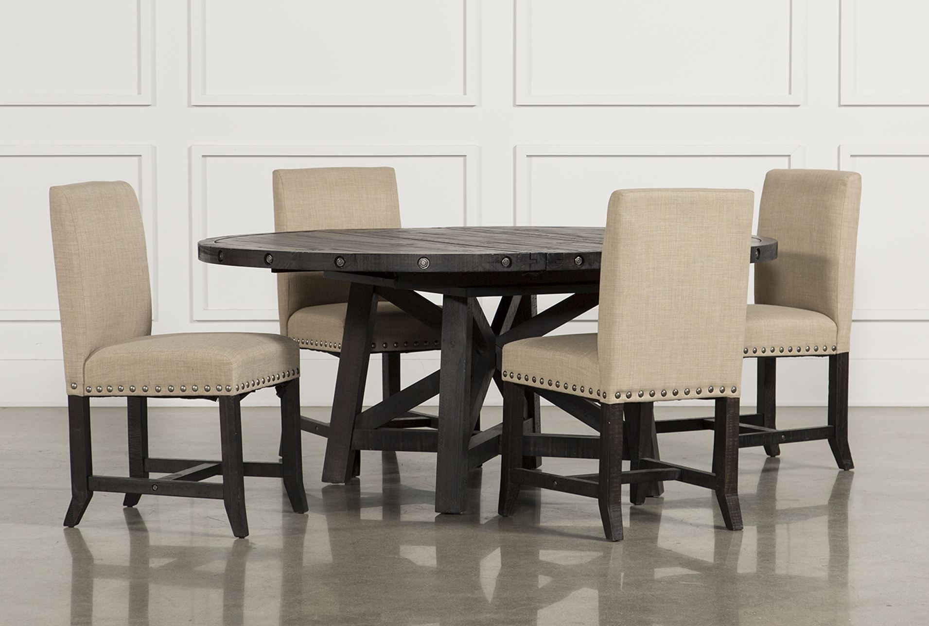 Dining Tables. Glamorous Living Spaces Dining Table: Jaxon 5 Piece In Best And Newest Jaxon Round Extension Dining Tables (Photo 5 of 20)