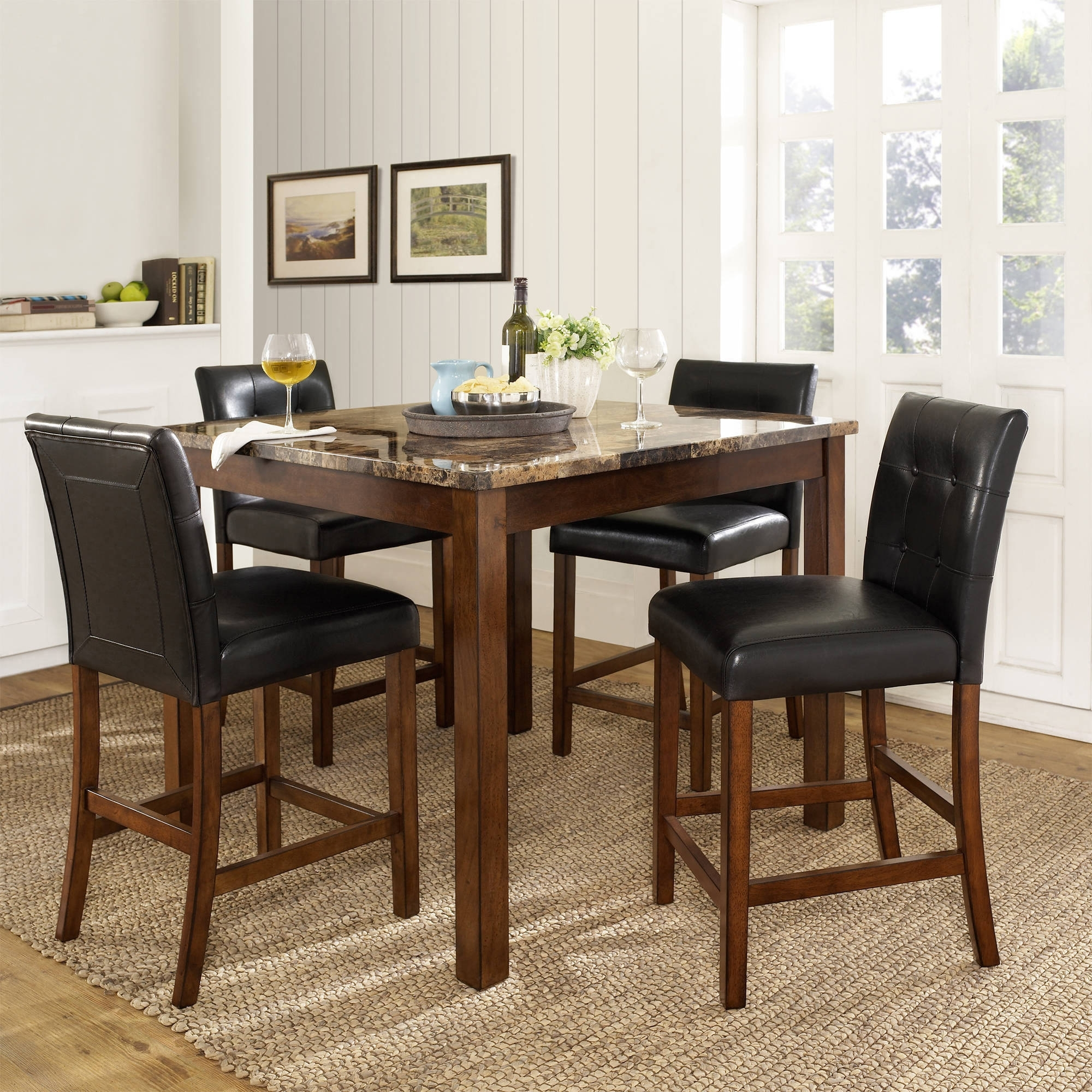 Dorel Living Andover 5 Piece Faux Marble Counter Height Dining Set For Recent Jaxon 5 Piece Round Dining Sets With Upholstered Chairs (Image 6 of 20)