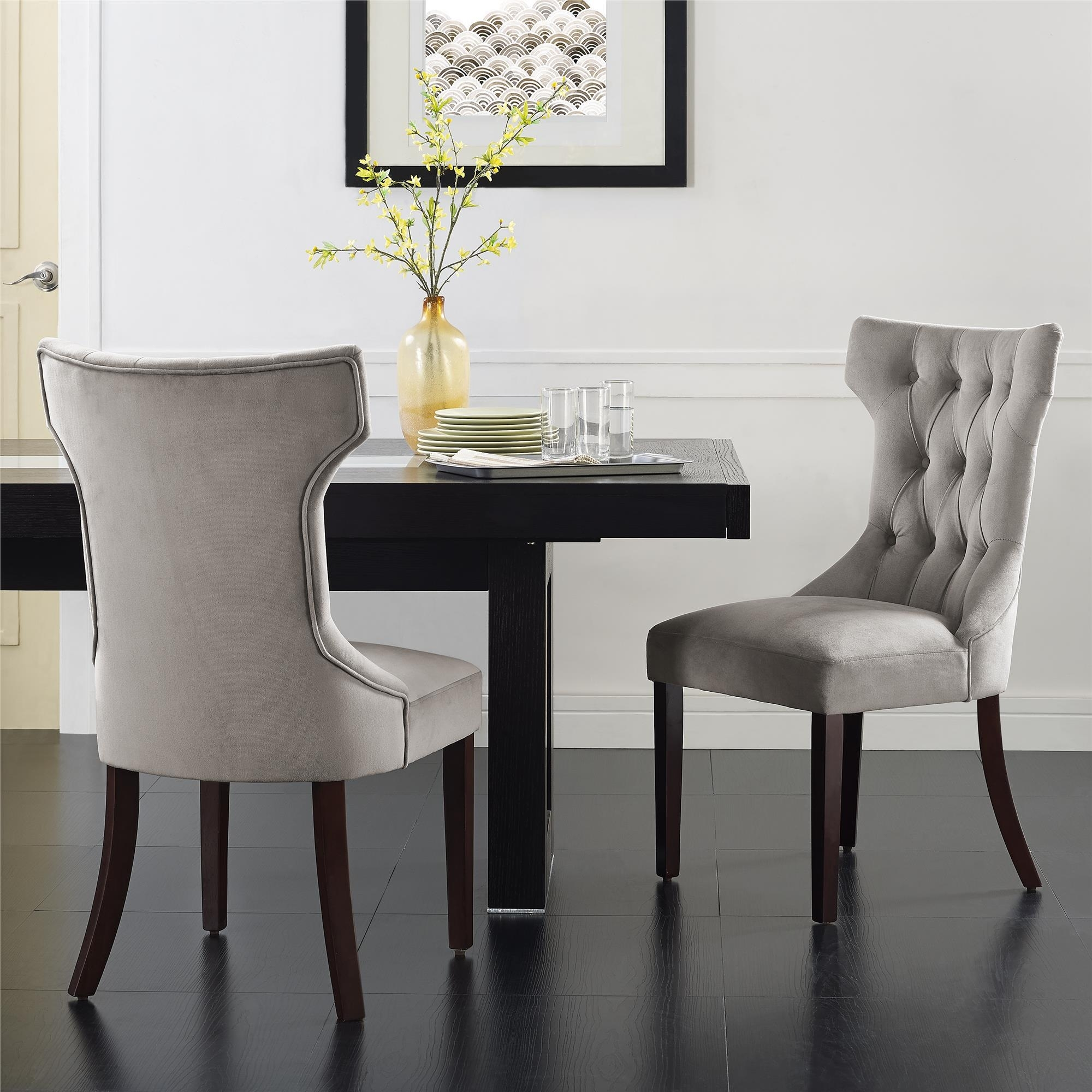 Dorel Living | Dorel Living Clairborne Tufted Dining Chair, Taupe In Newest Market 7 Piece Dining Sets With Side Chairs (Image 9 of 20)
