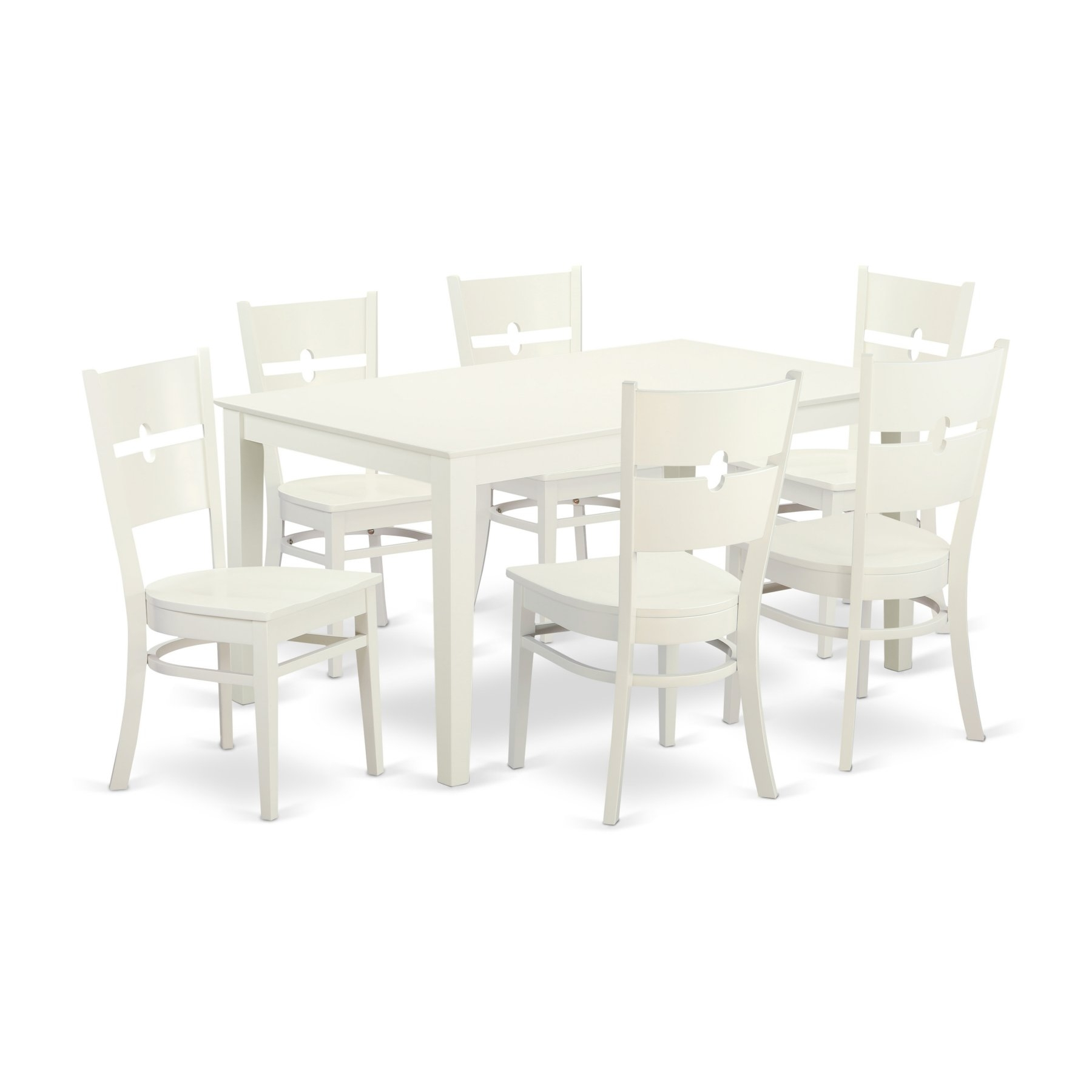 East West Furniture Capri Caro7 Seven Piece Dining Table Set In 2018 Within Current Craftsman 5 Piece Round Dining Sets With Uph Side Chairs (Photo 20 of 20)