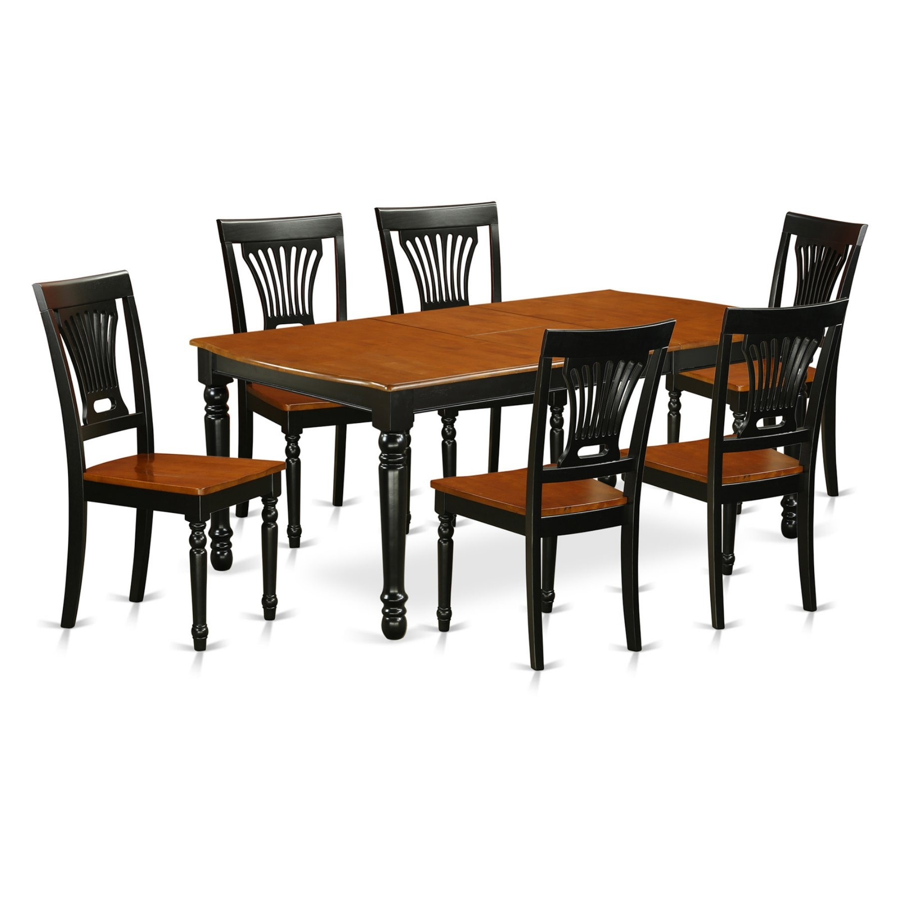 East West Furniture Dover Dopl7 Seven Piece Extension Dining Table Regarding Best And Newest Parquet 6 Piece Dining Sets (Photo 17 of 20)