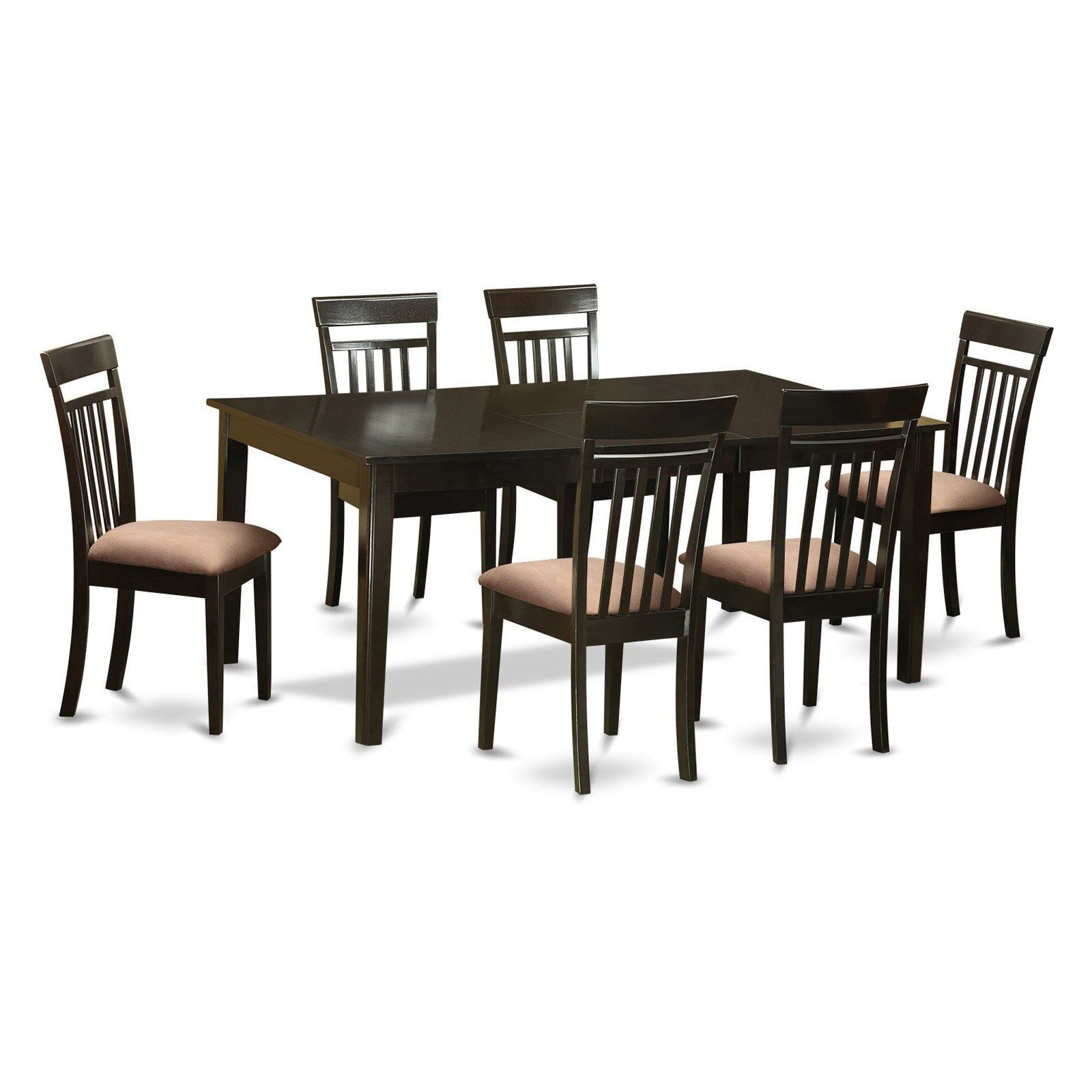 East West Furniture Henley 7 Piece Extension Dining Table Set With Throughout 2018 Rocco Extension Dining Tables (Image 3 of 20)