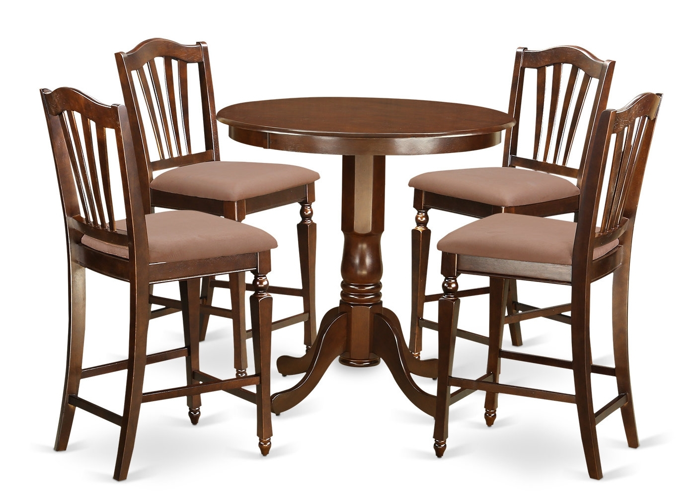 East West Jackson 5 Piece Counter Height Pub Table Set | Wayfair With Most Recent Jaxon Grey 5 Piece Round Extension Dining Sets With Upholstered Chairs (View 13 of 20)