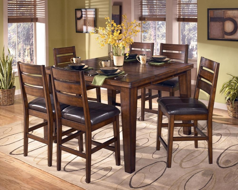 Easton 7 Pieces Cottage Brown Square Counter Height Dining Room For Current Leon 7 Piece Dining Sets (Photo 20 of 20)