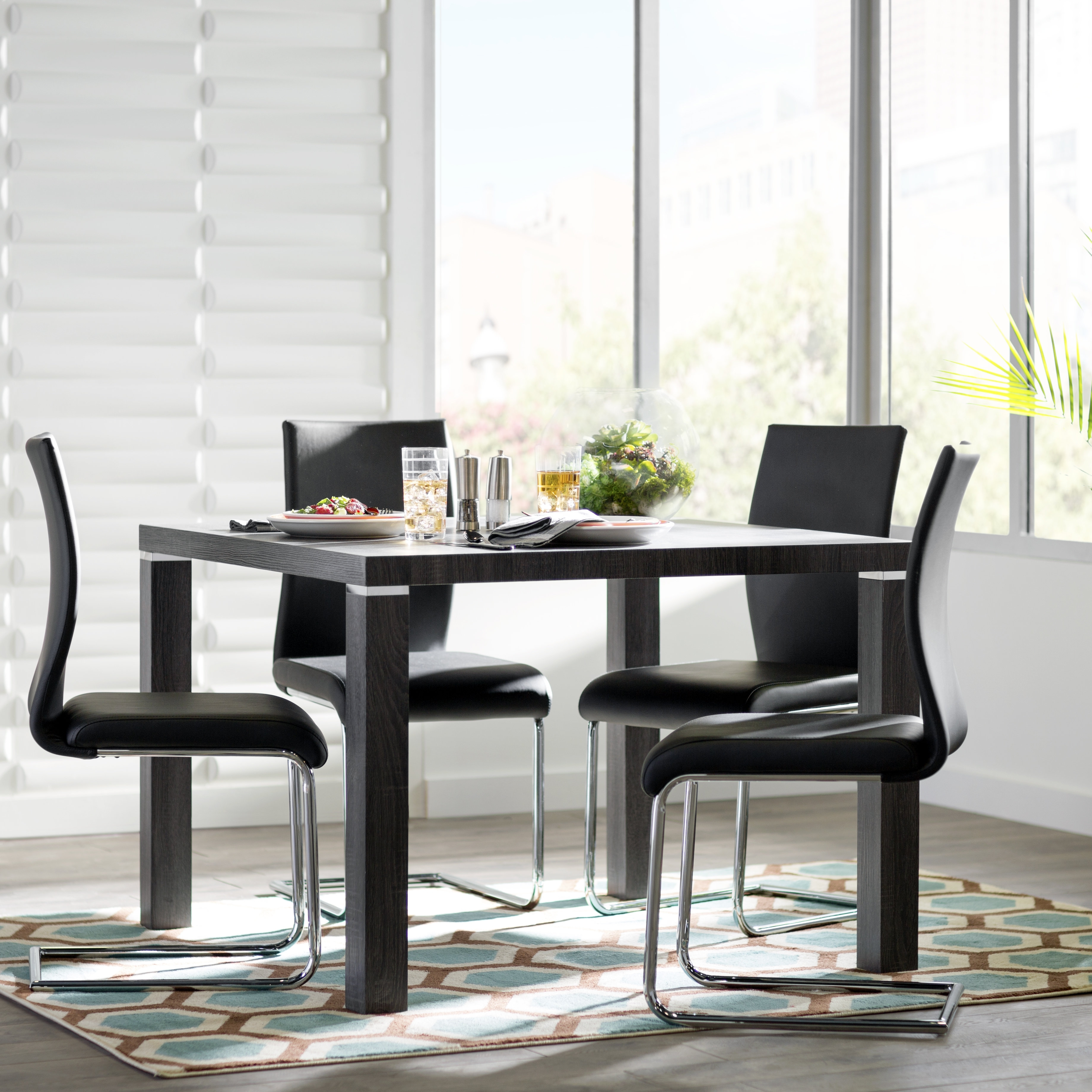 Ebern Designs Alva 5 Piece Dining Set & Reviews | Wayfair Intended For Best And Newest Norwood 6 Piece Rectangular Extension Dining Sets With Upholstered Side Chairs (Image 5 of 20)