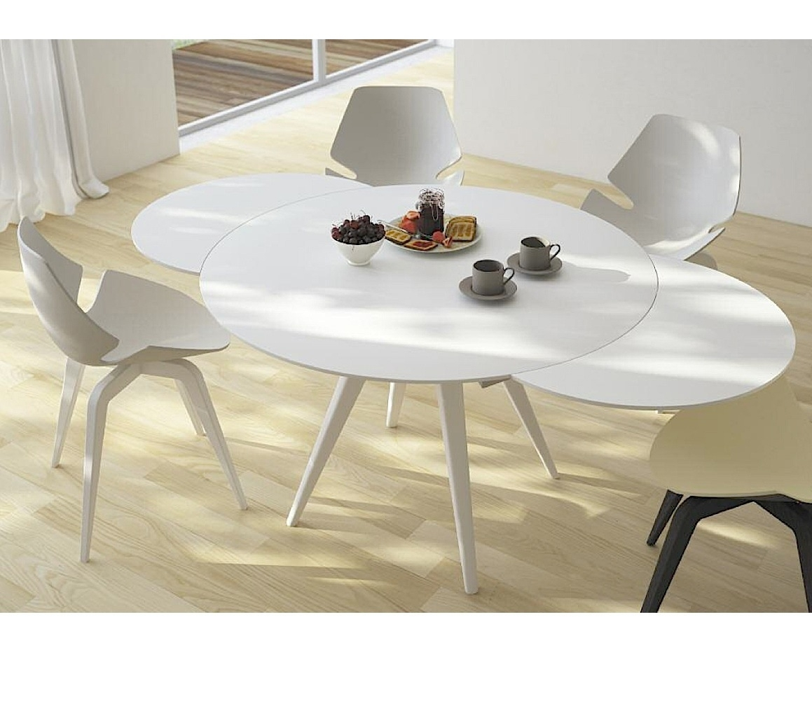 Elan Metallo Round Extending Dining Table – Aflair For Home With Recent Laurent Round Dining Tables (Image 5 of 20)