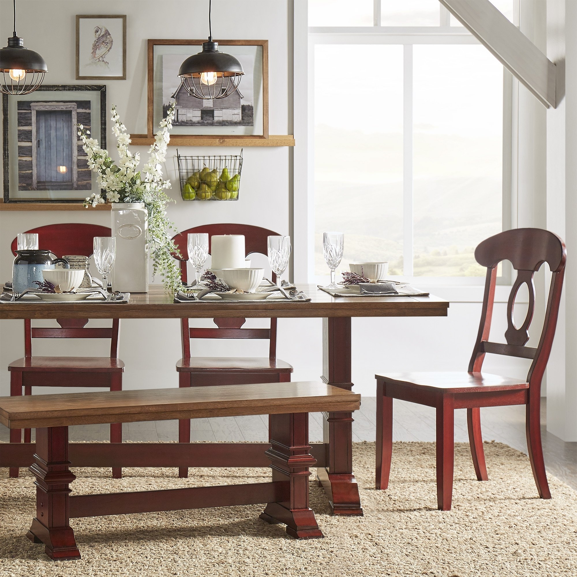 Eleanor Berry Red Farmhouse Trestle Base Napoleon Back 6 Piece Regarding Most Recently Released Caden 6 Piece Rectangle Dining Sets (Photo 9 of 20)