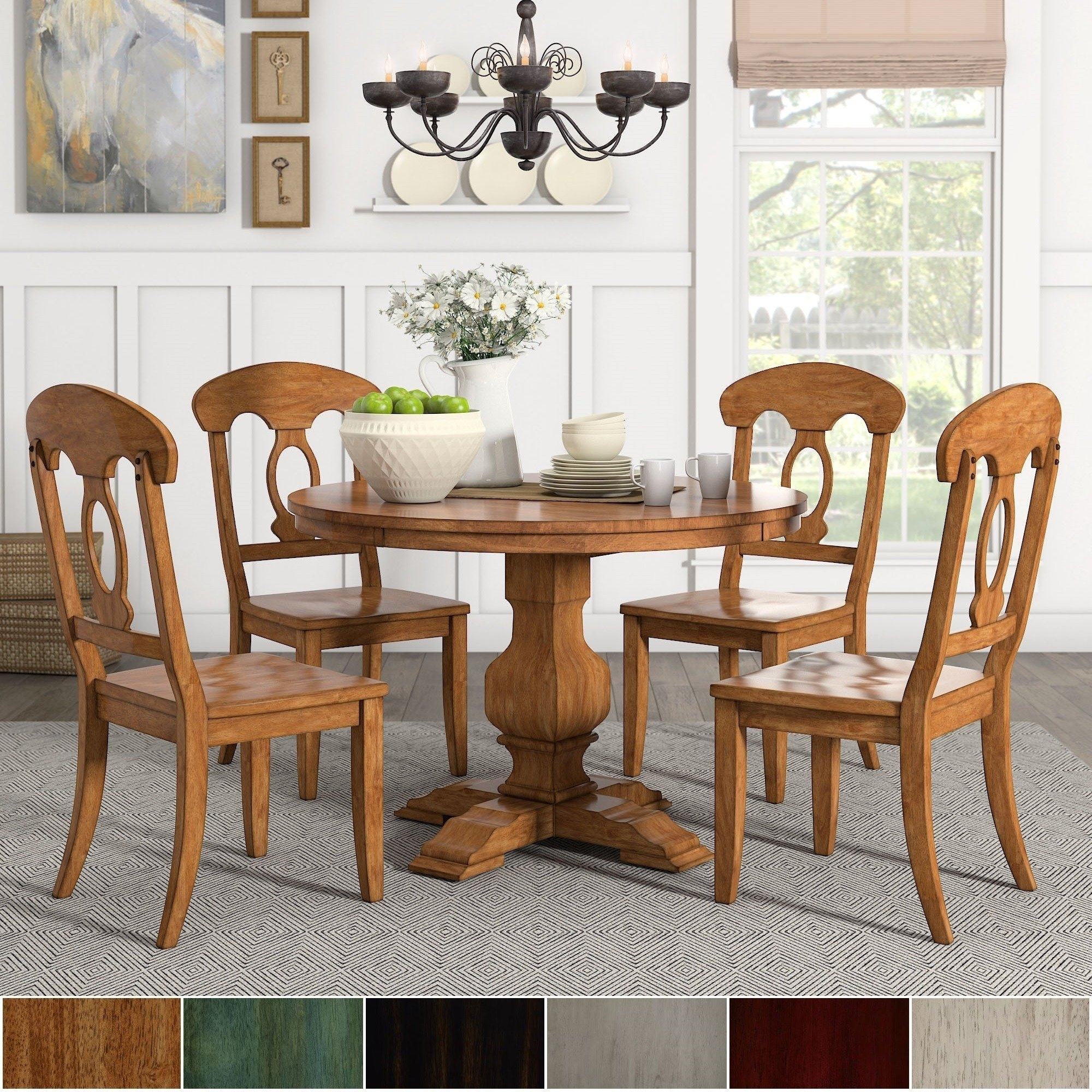 Eleanor Oak Round Soild Wood Top 5 Piece Dining Set – Napoleon Back Intended For Latest Caden 5 Piece Round Dining Sets With Upholstered Side Chairs (Photo 2 of 20)
