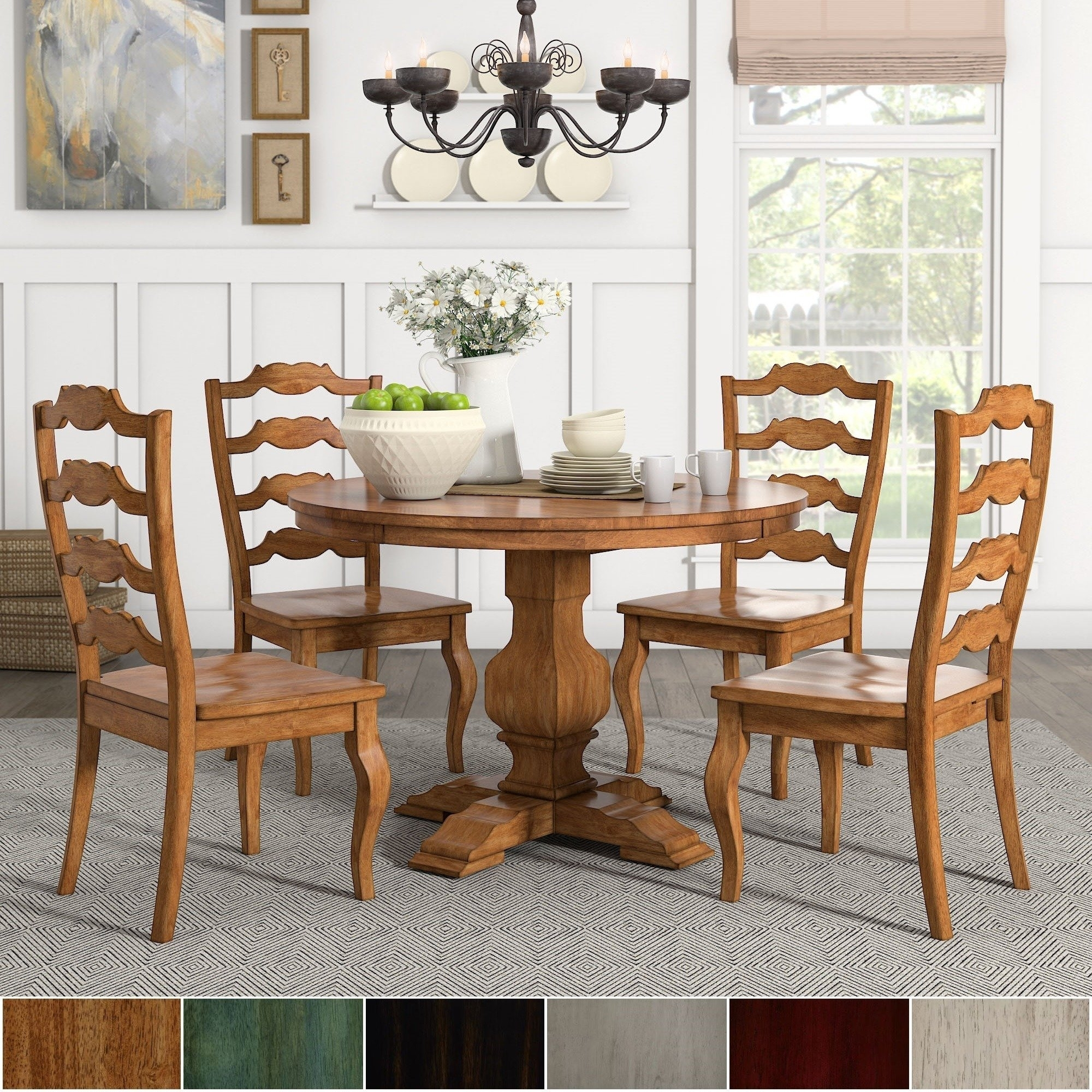 Eleanor Oak Round Soild Wood Top Ladder Back 5 Piece Dining Set With Most Recently Released Caden 7 Piece Dining Sets With Upholstered Side Chair (Photo 11 of 20)