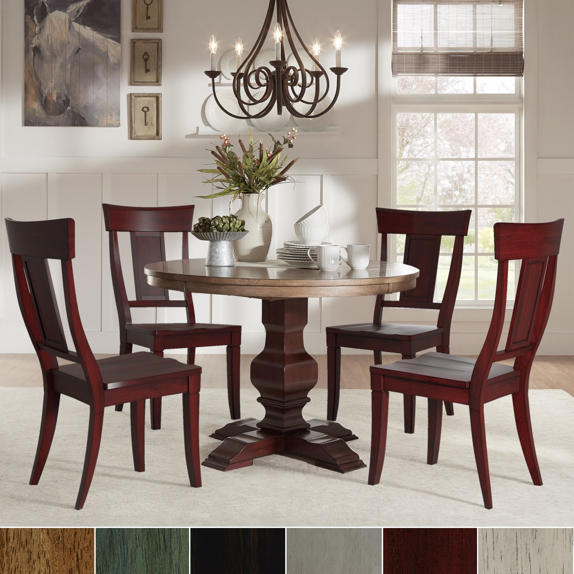 Eleanor Red Round Solid Wood Top 5 Piece Dining Set – Panel Back For Newest Caden 5 Piece Round Dining Sets (Image 10 of 20)