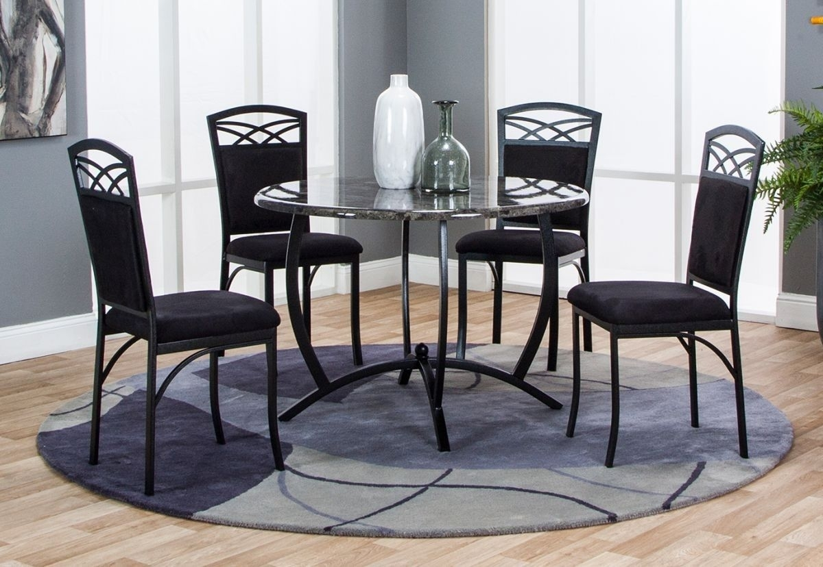 Electra 5 Pc Dining Room Throughout Most Popular Caira Black 5 Piece Round Dining Sets With Diamond Back Side Chairs (Image 10 of 20)
