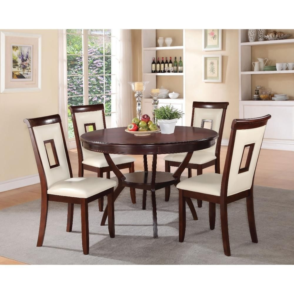 Elegant Wooden 5 Piece Counter Height Set, Cream & Cherry Brown Acme Pertaining To Most Popular Market 7 Piece Counter Sets (Image 12 of 20)