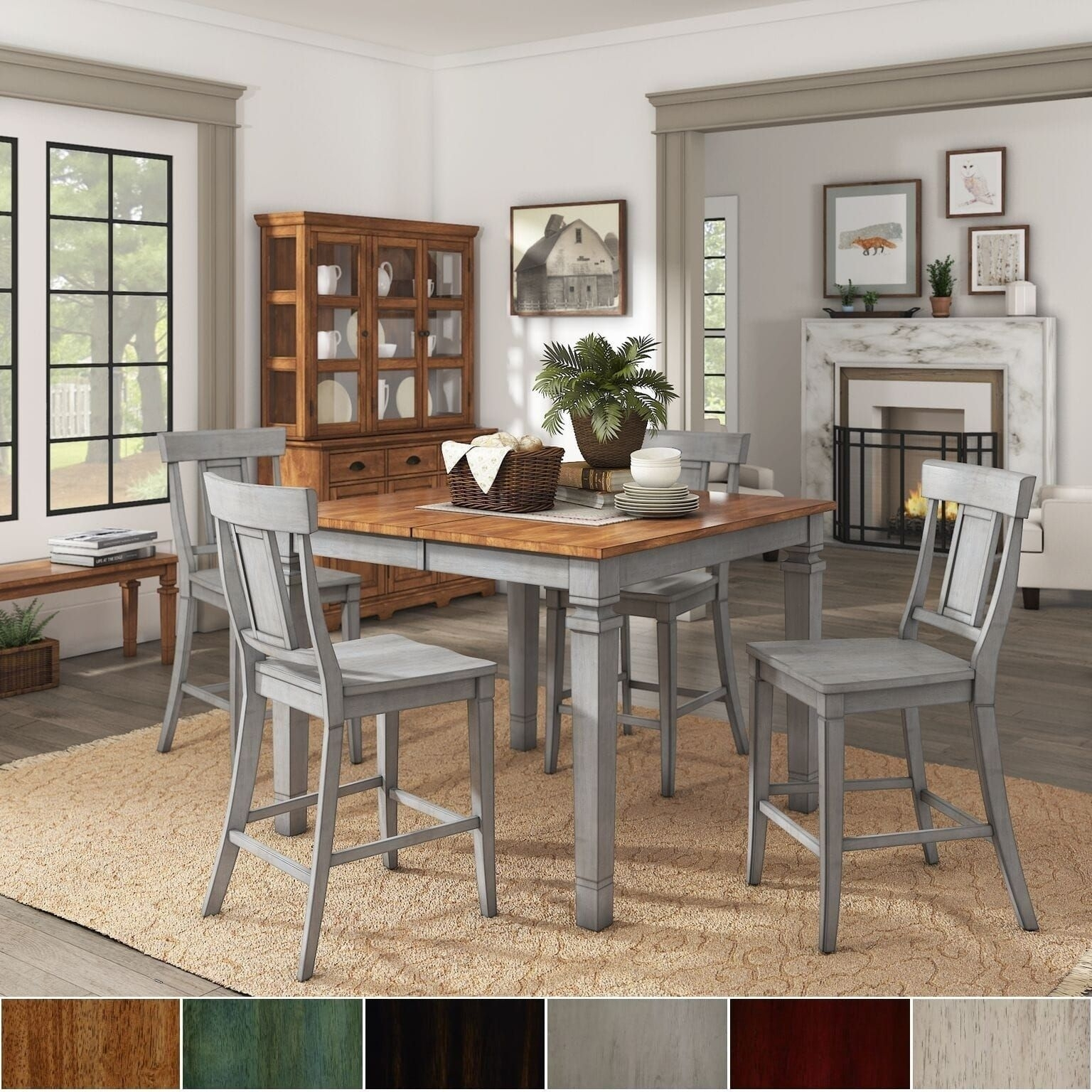 Elena Antique Grey Extendable Counter Height Dining Set – Panel Back Within Latest Jameson Grey 5 Piece Counter Sets (Image 5 of 20)