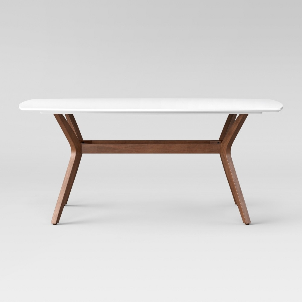 Emmond Mid Century 72 Dining Table White & Brown – Project 62 Regarding Best And Newest Lassen Extension Rectangle Dining Tables (View 6 of 20)