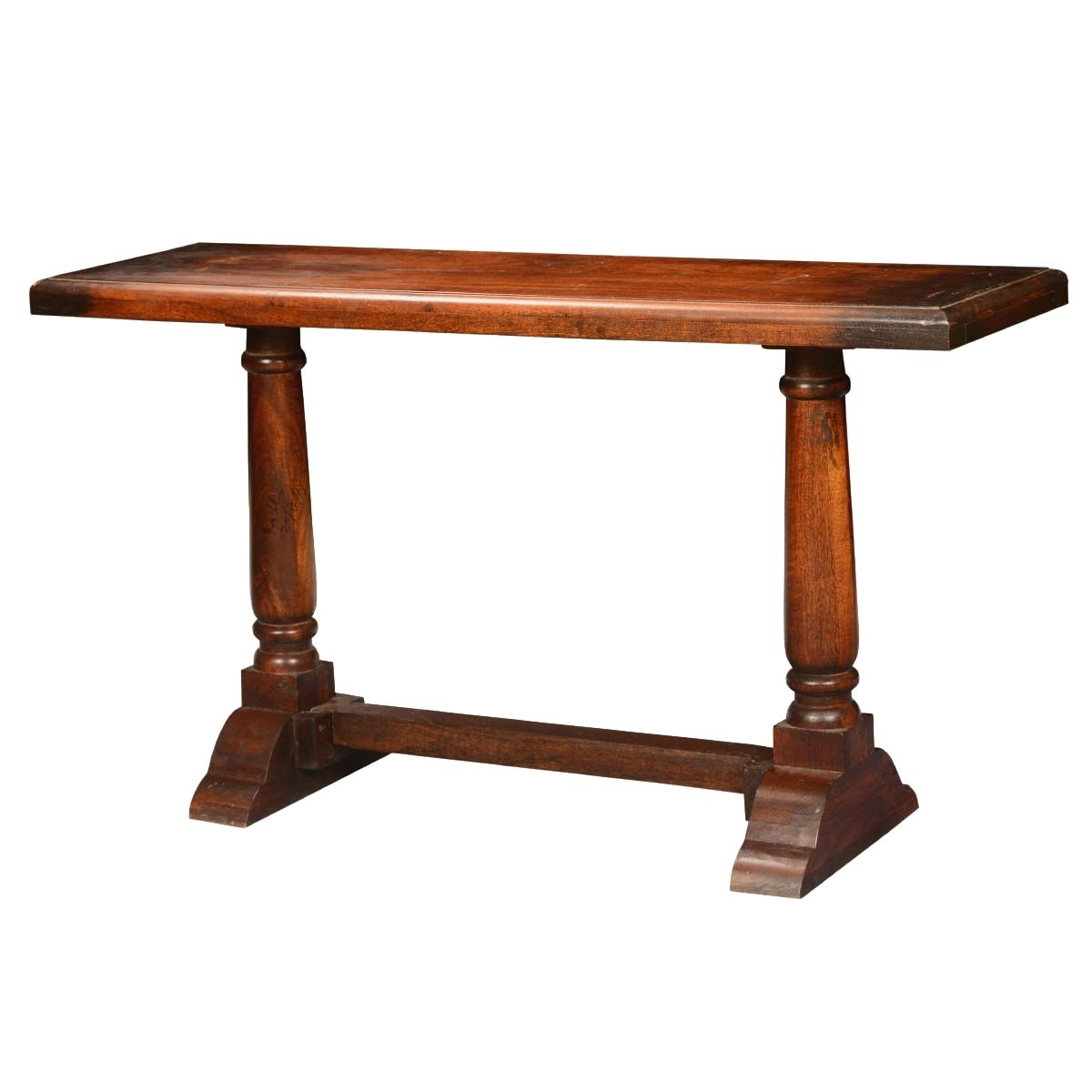 Empire Acacia Wood Trestle Double Pedestal Console Hall Table Wall Within Latest Magnolia Home Double Pedestal Dining Tables (Photo 12 of 20)