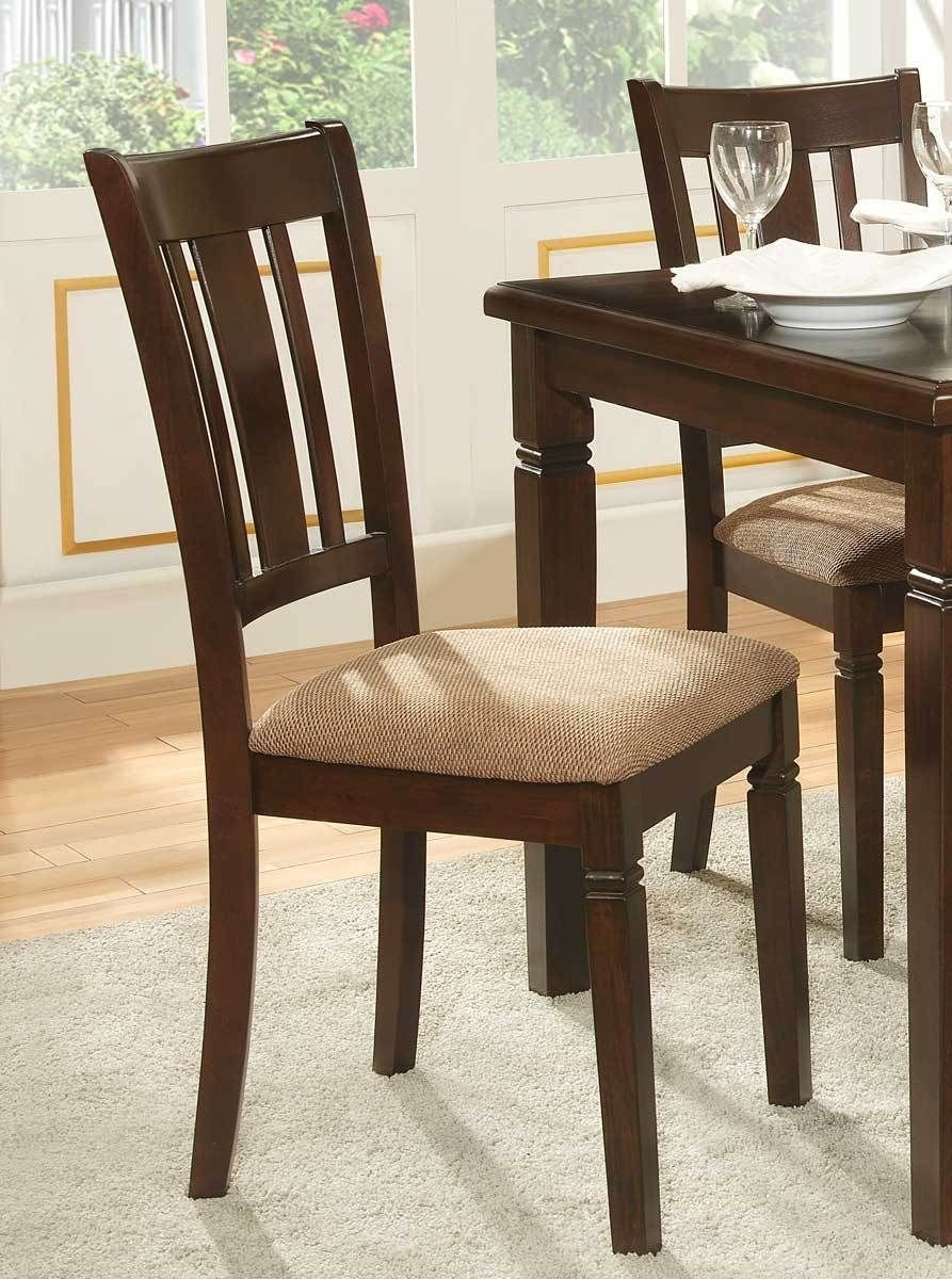 Fabric Upholstered Slated Back Side Chair, Espresso & Light Brown With Regard To 2018 Caira Black 7 Piece Dining Sets With Upholstered Side Chairs (Image 7 of 20)