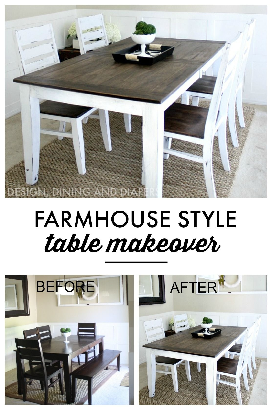 Farmhouse Table Makeover | Kitchen | Pinterest | Farmhouse Table Intended For Newest Washed Old Oak & Waxed Black Legs Bar Tables (View 17 of 20)